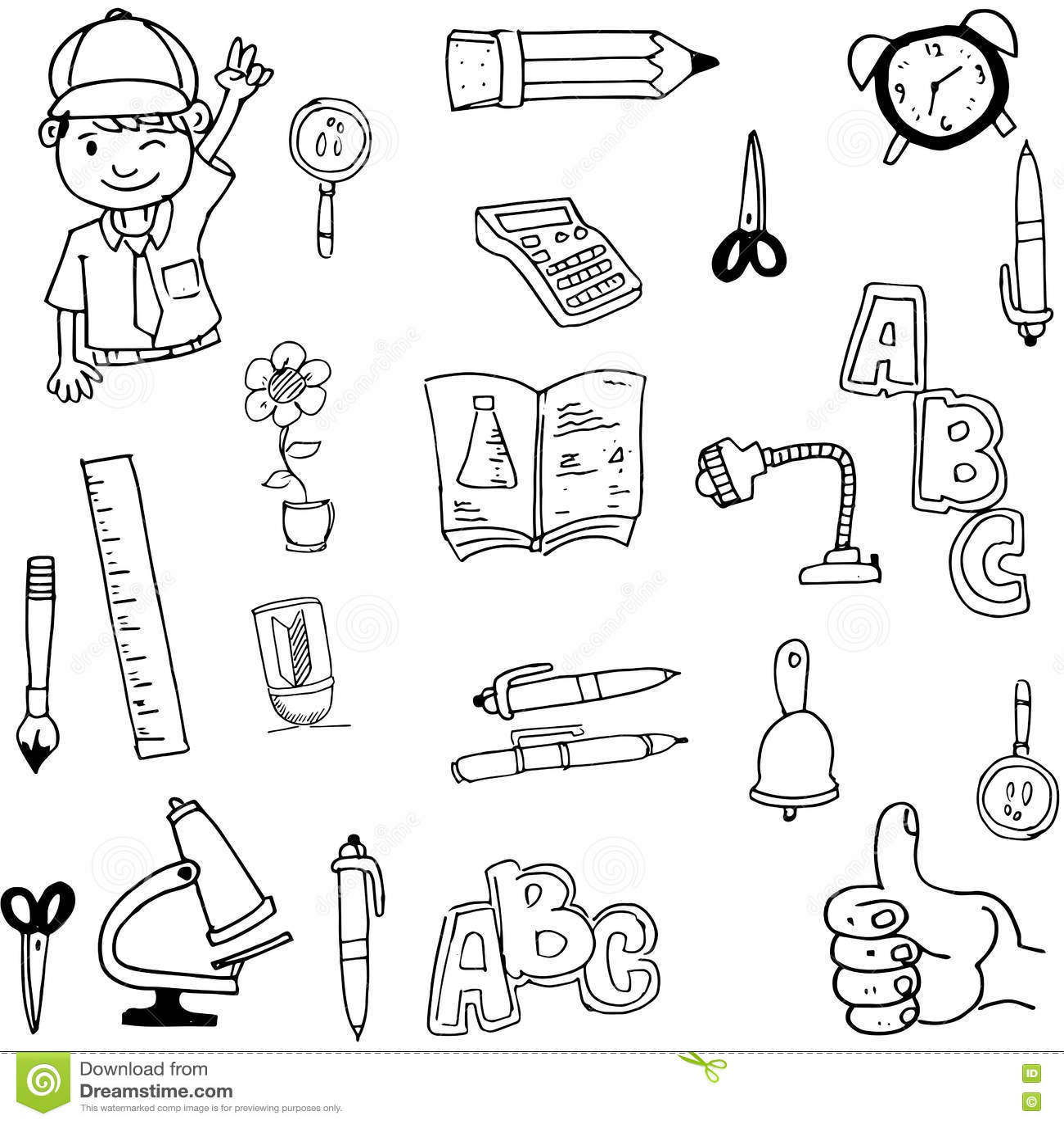 Doodle Of Tools School Hand Draw Stock Vector