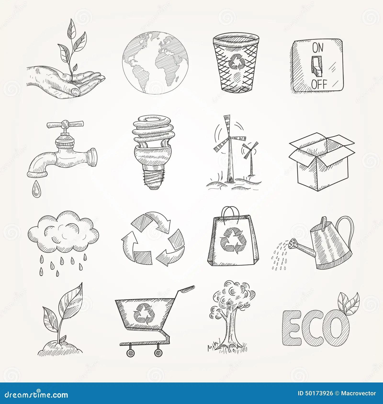Doodles Ecology Set Stock Vector Illustration Of Energy