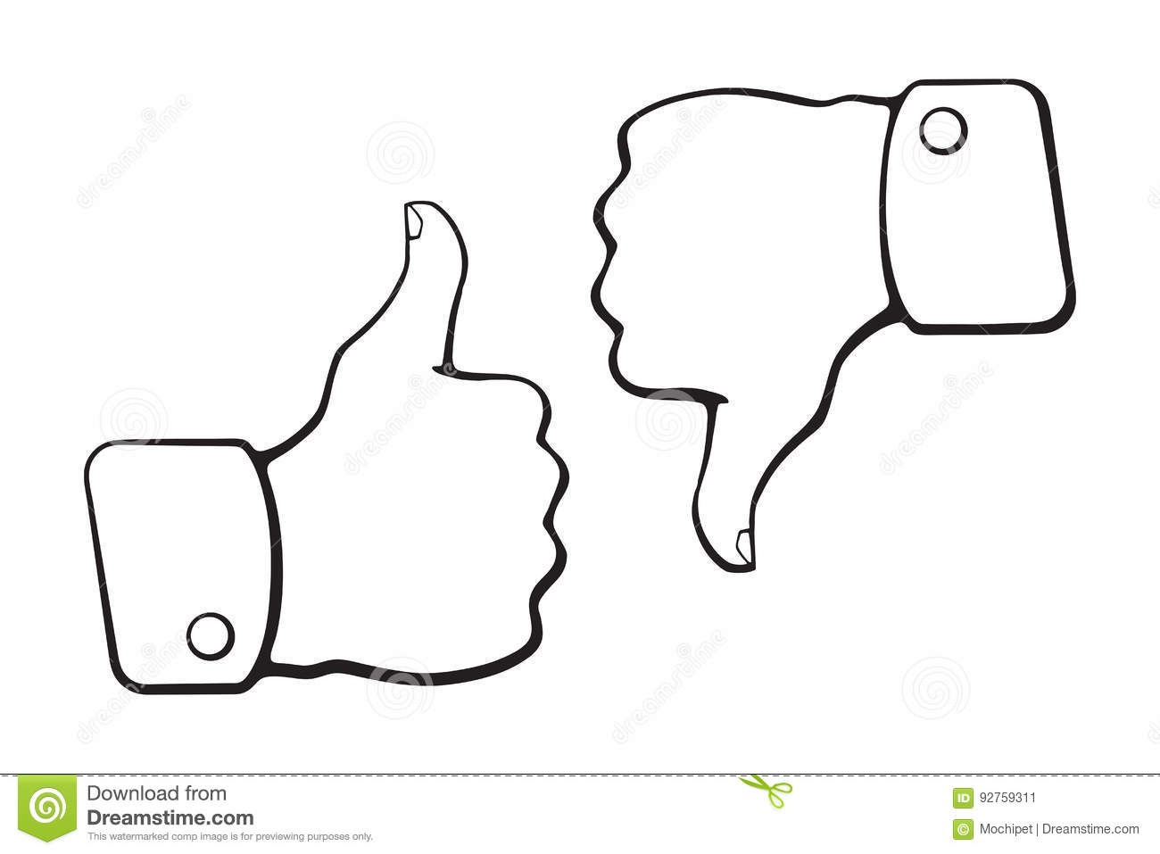 Doodles Of Thumb Up And Thumb Down Symbols Of Like And