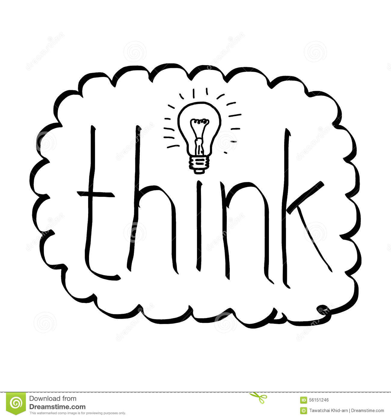 Doodles Of The Word Think With Bulb Stock Vector