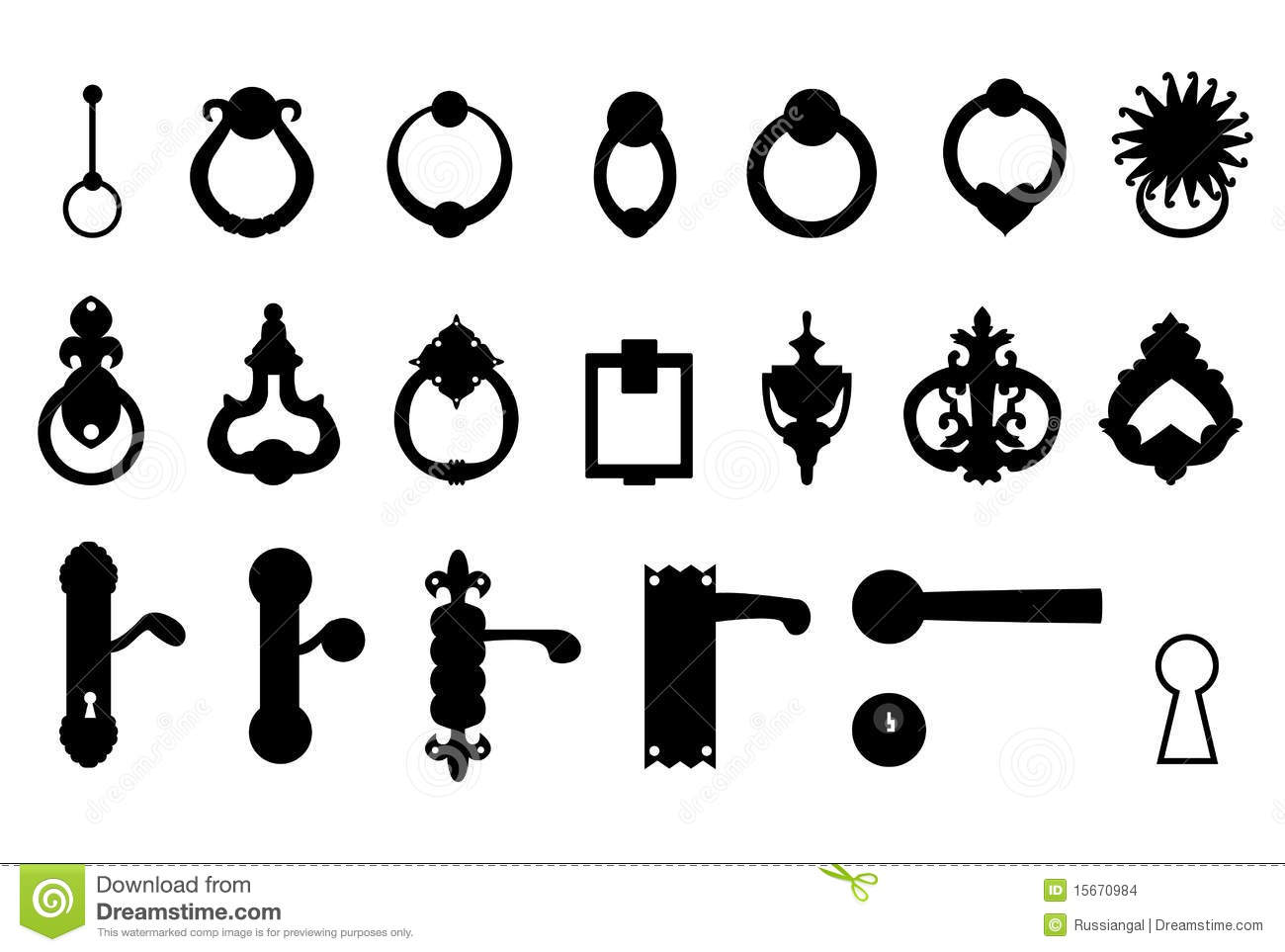 Door Handles Knockers Stock Vector Illustration Of