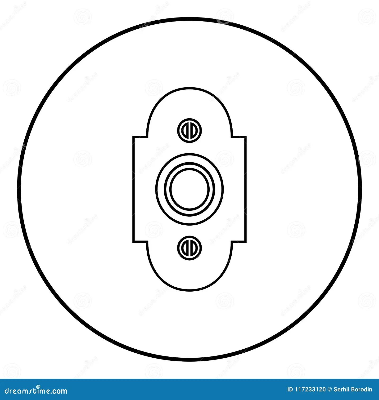 Doorbell Icon Black Color Vector Illustration Simple Image