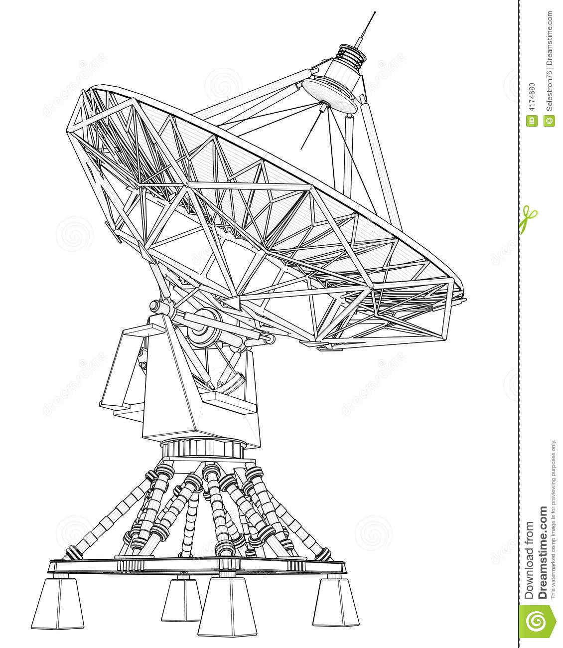 Doppler Radar Technical Draw Stock Photo