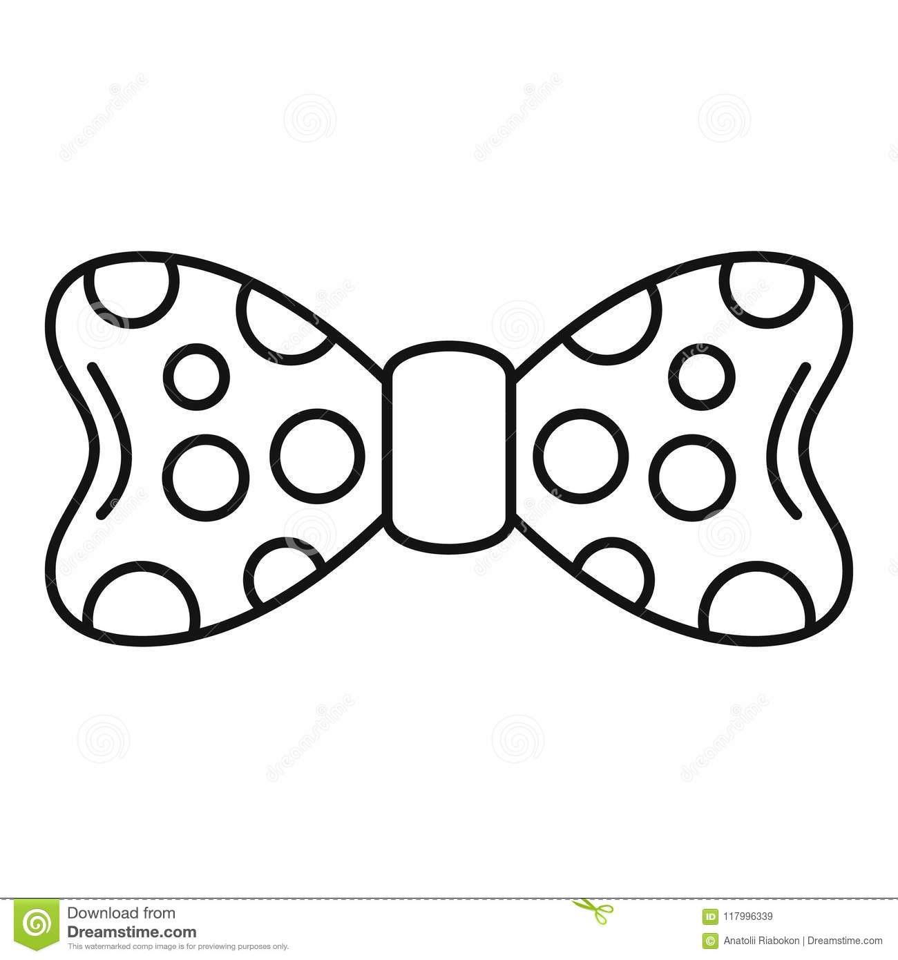 Dot Bow Tie Icon Outline Style Stock Vector