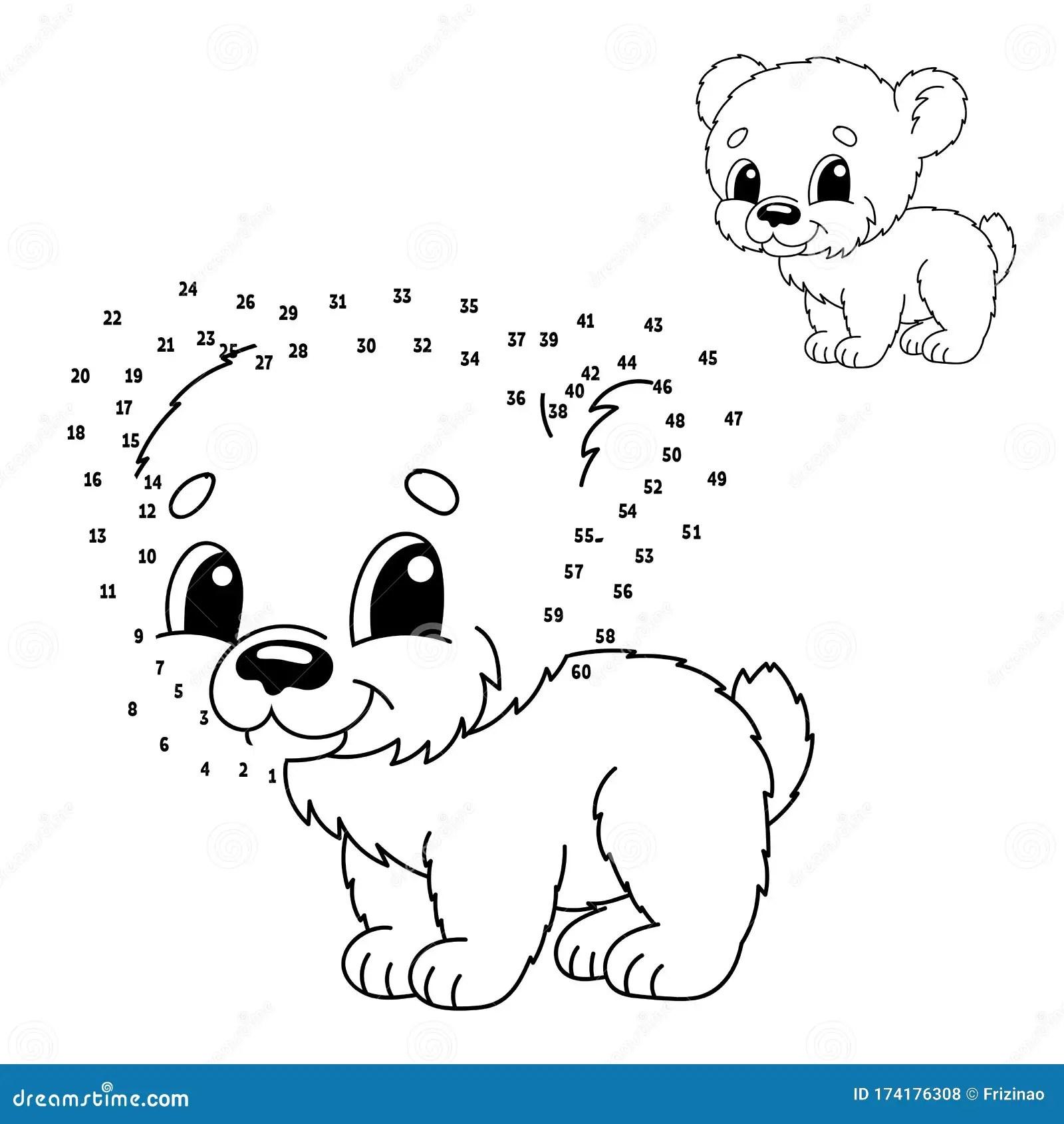 Dot To Dot Animal Bear Draw A Line Handwriting Practice