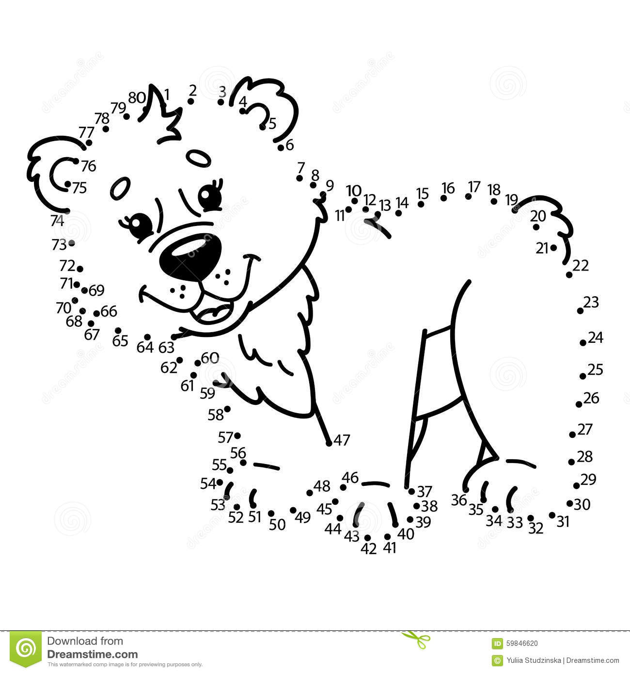 Dot To Dot Bear Game Stock Vector