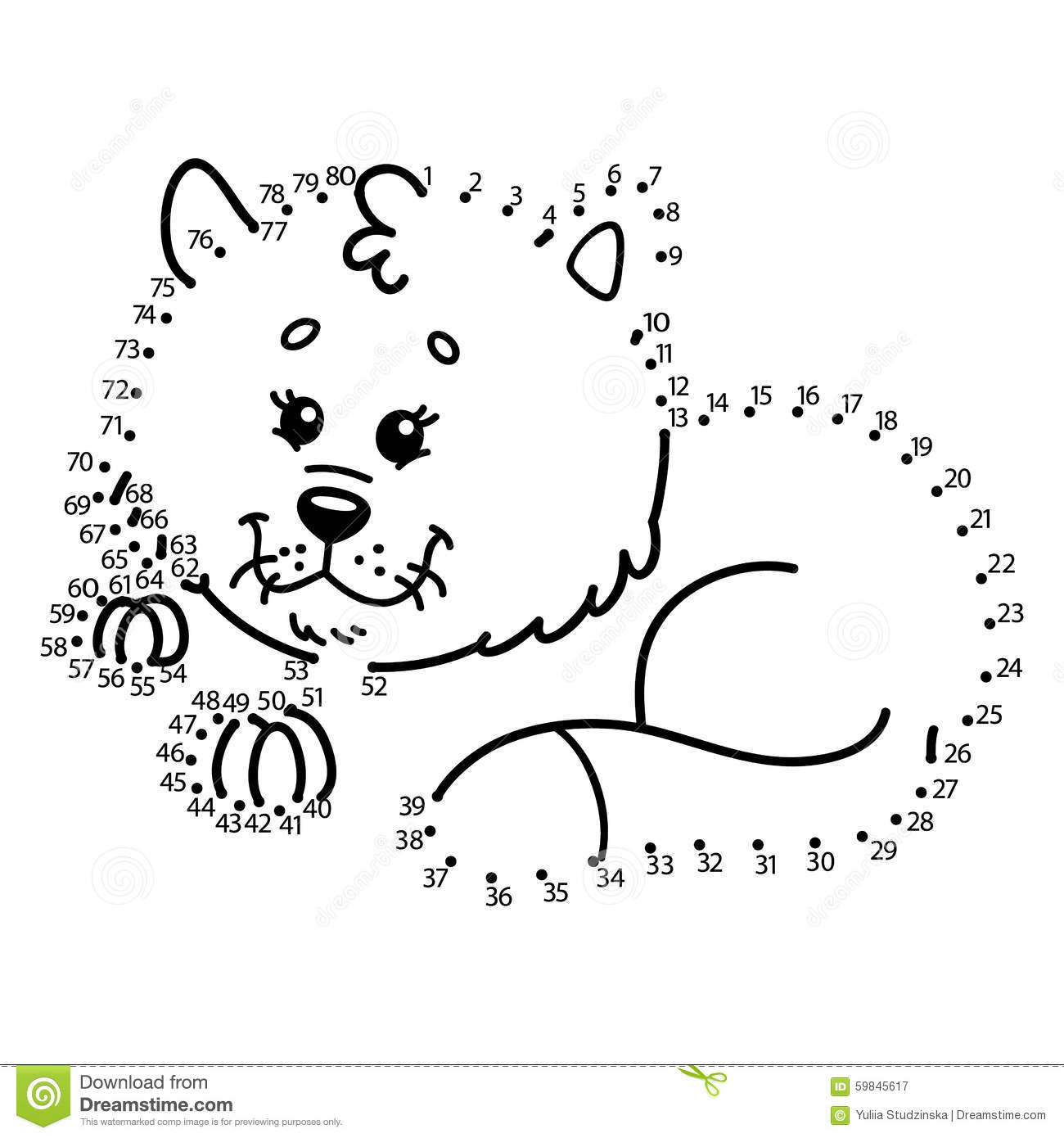Dot To Dot Cat Game Stock Vector Image Of Coloring