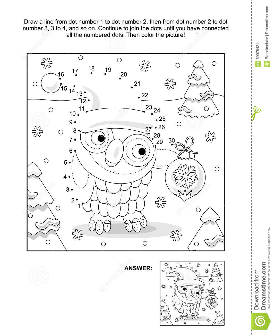 Dot To Dot And Coloring Page With Christmas Owl Stock Vector