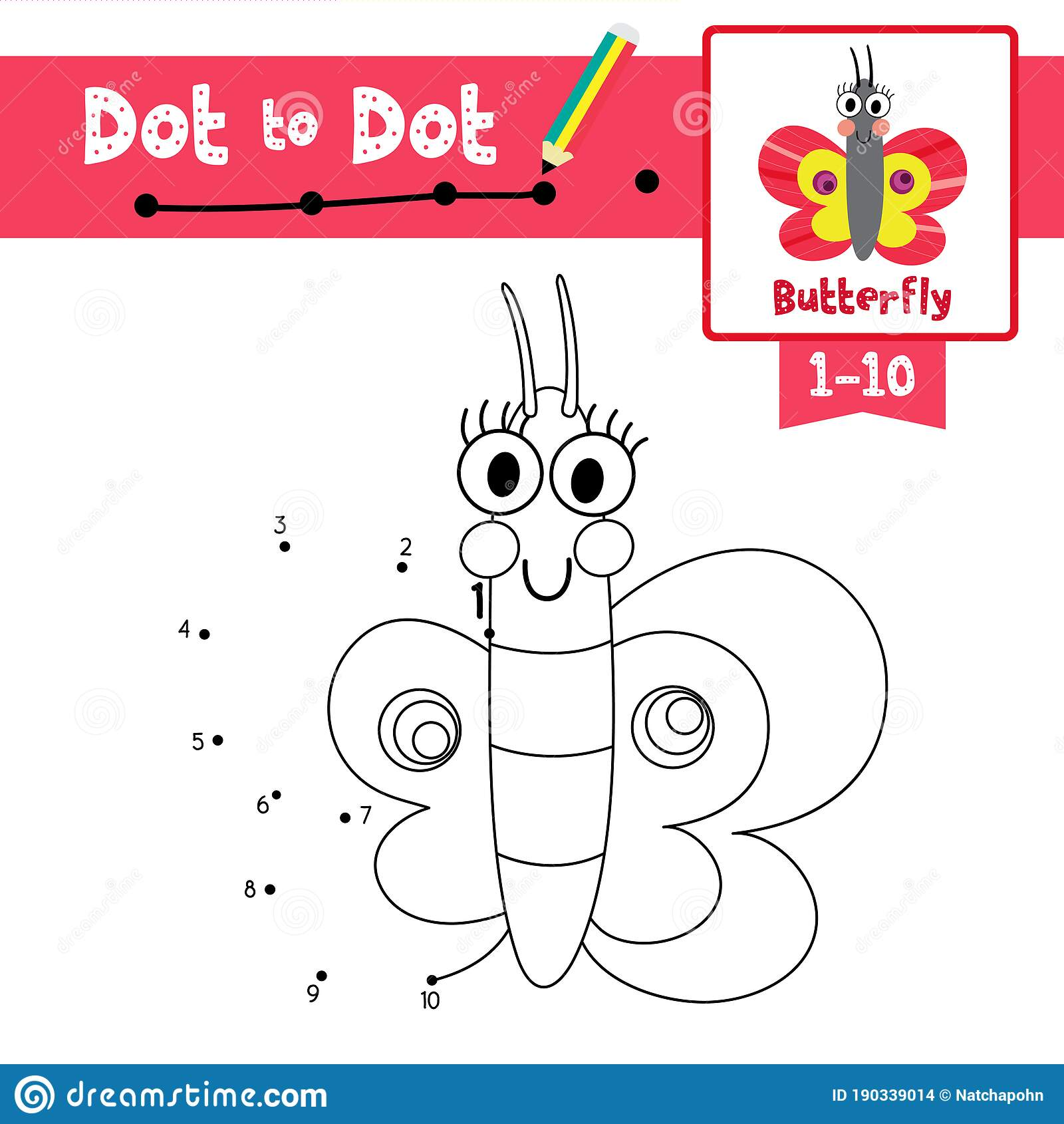 Dot To Dot Educational Game And Coloring Book Butterfly