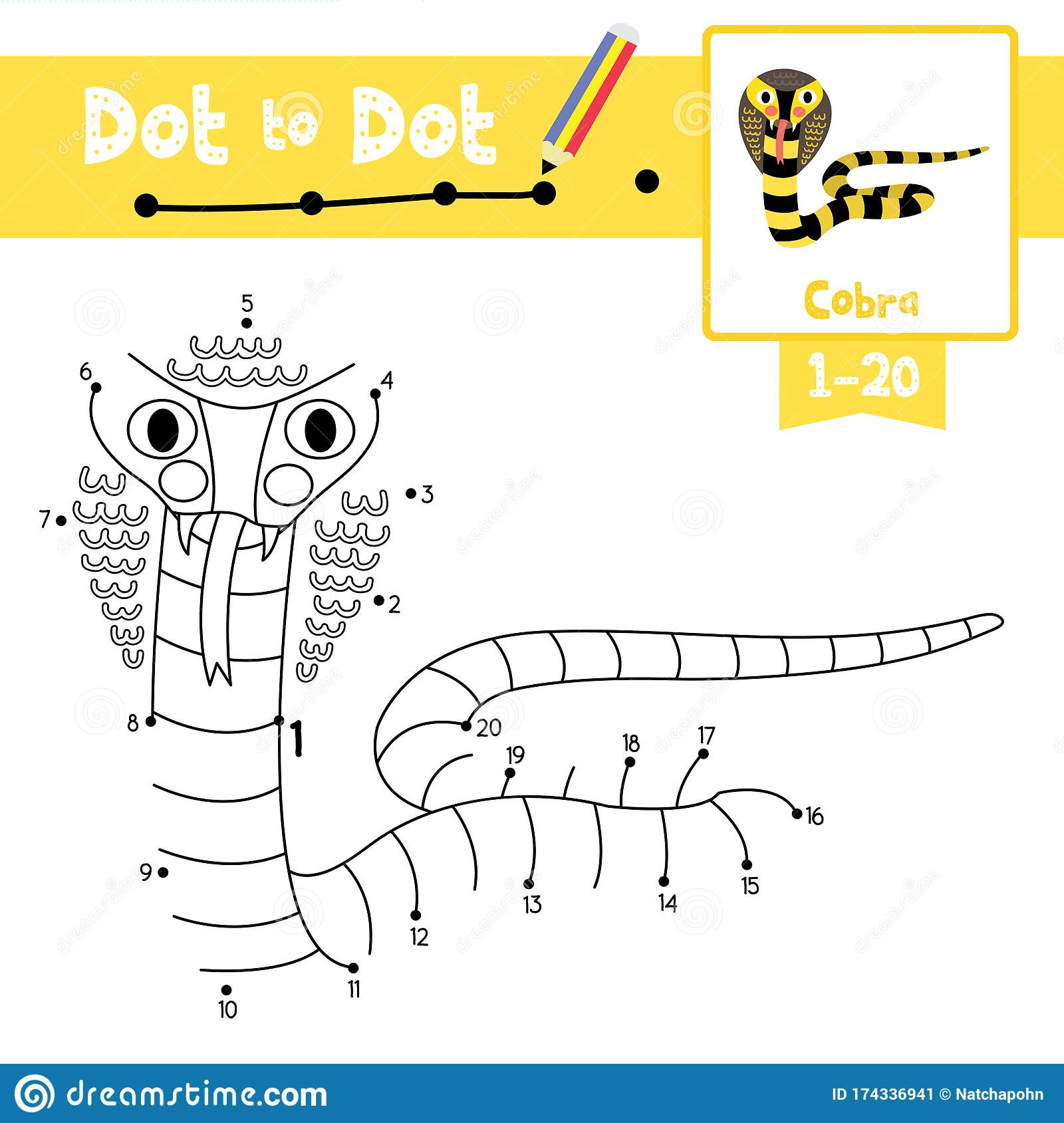 Dot To Dot Educational Game And Coloring Book Cobra Animal