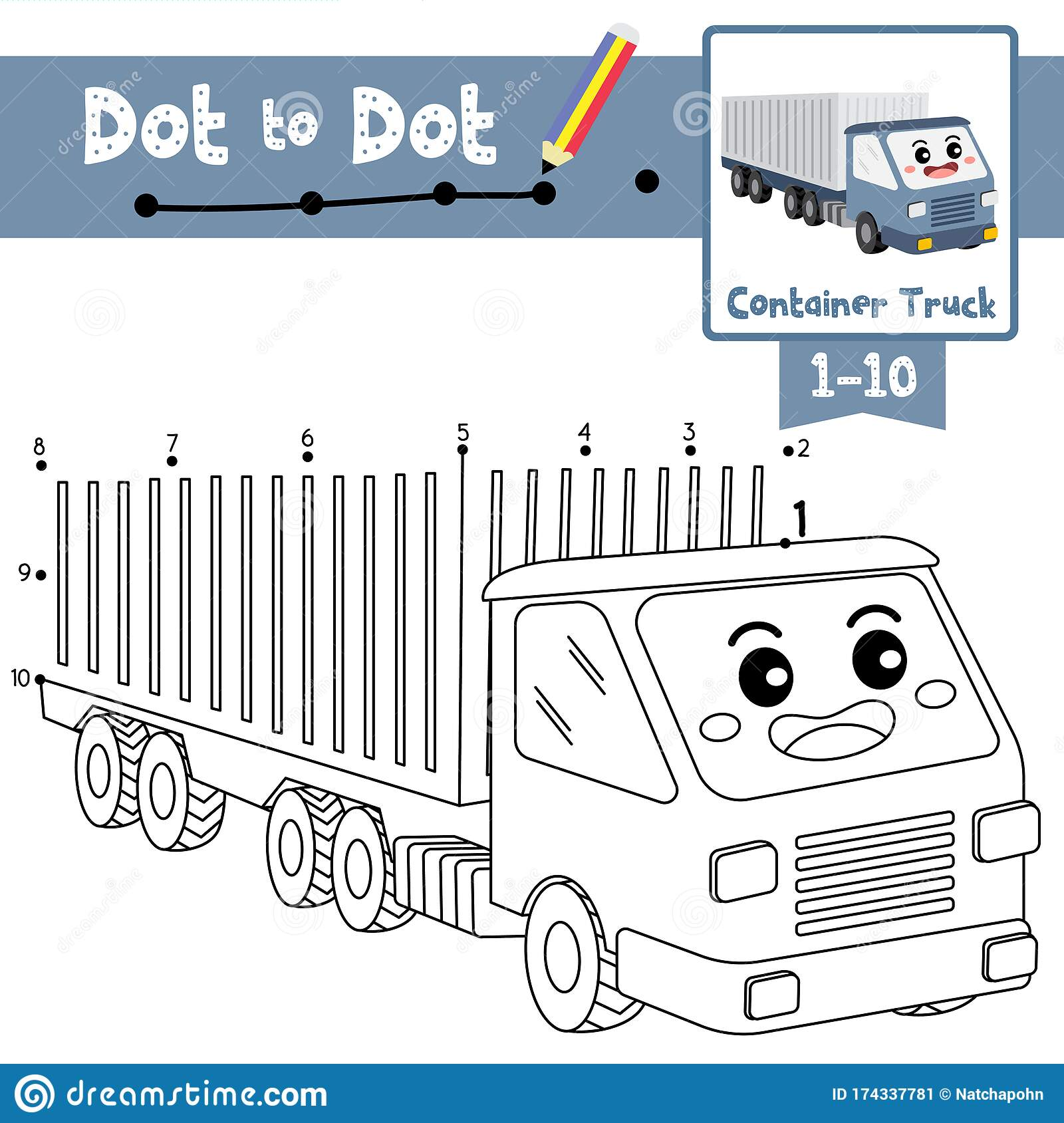 Dot To Dot Educational Game And Coloring Book Container