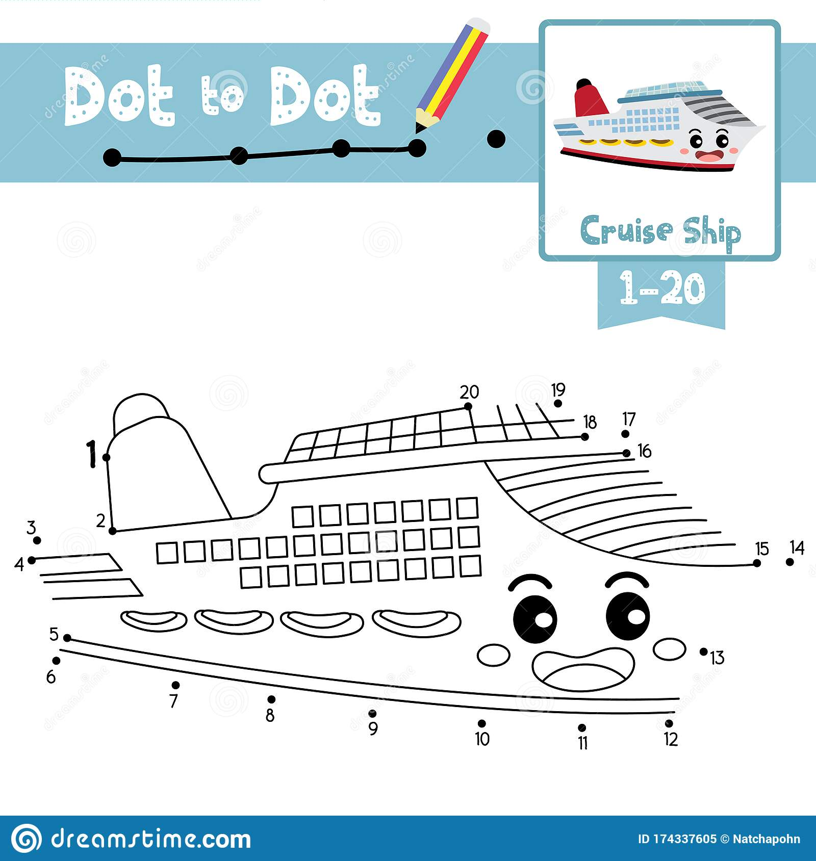 Dot To Dot Educational Game And Coloring Book Cruise Ship