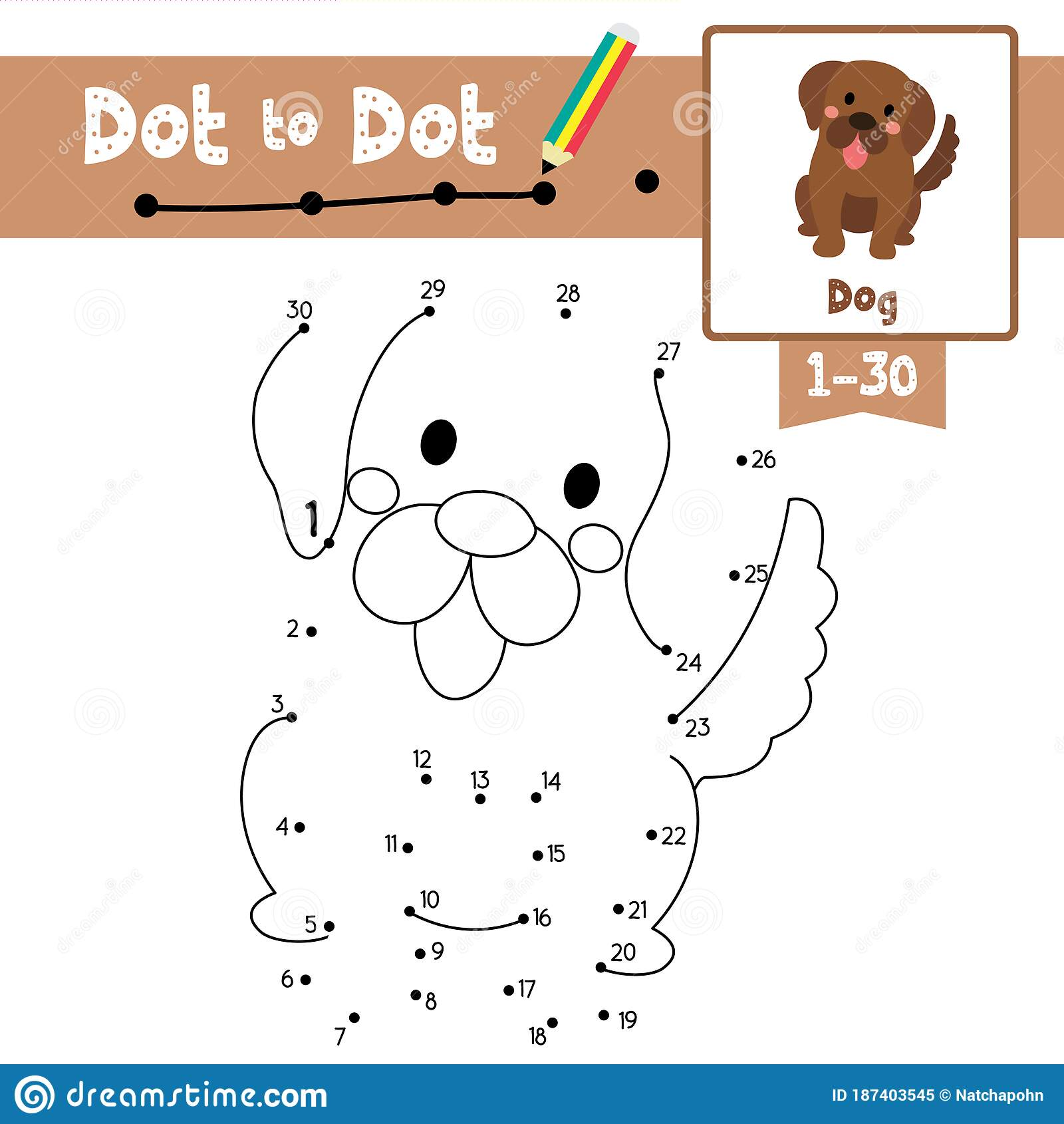 Dot To Dot Educational Game And Coloring Book Sitting Dog