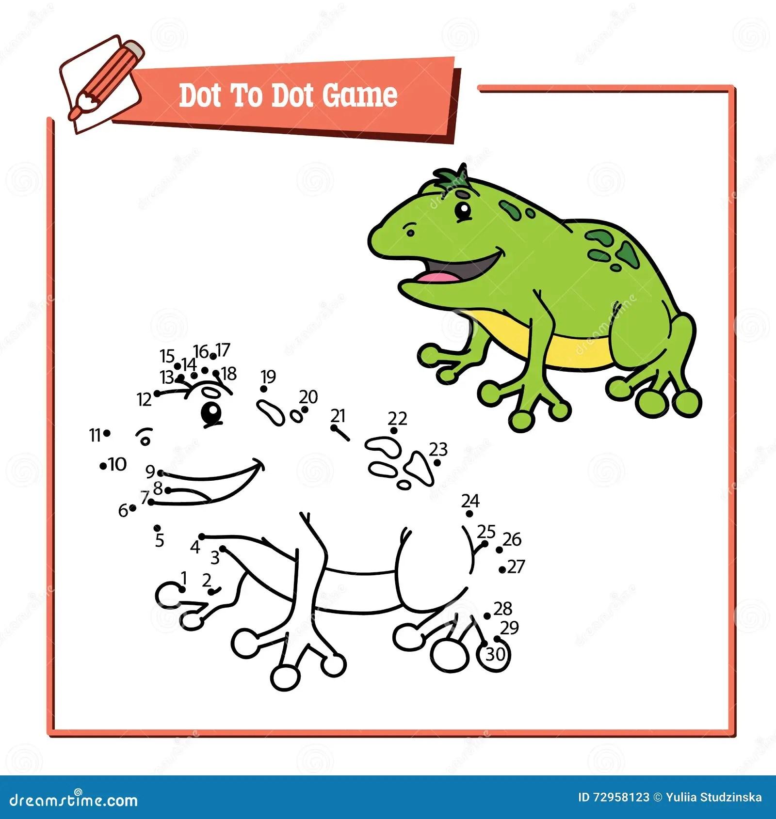 Dot To Dot Frog Educational Kid Game Stock Vector