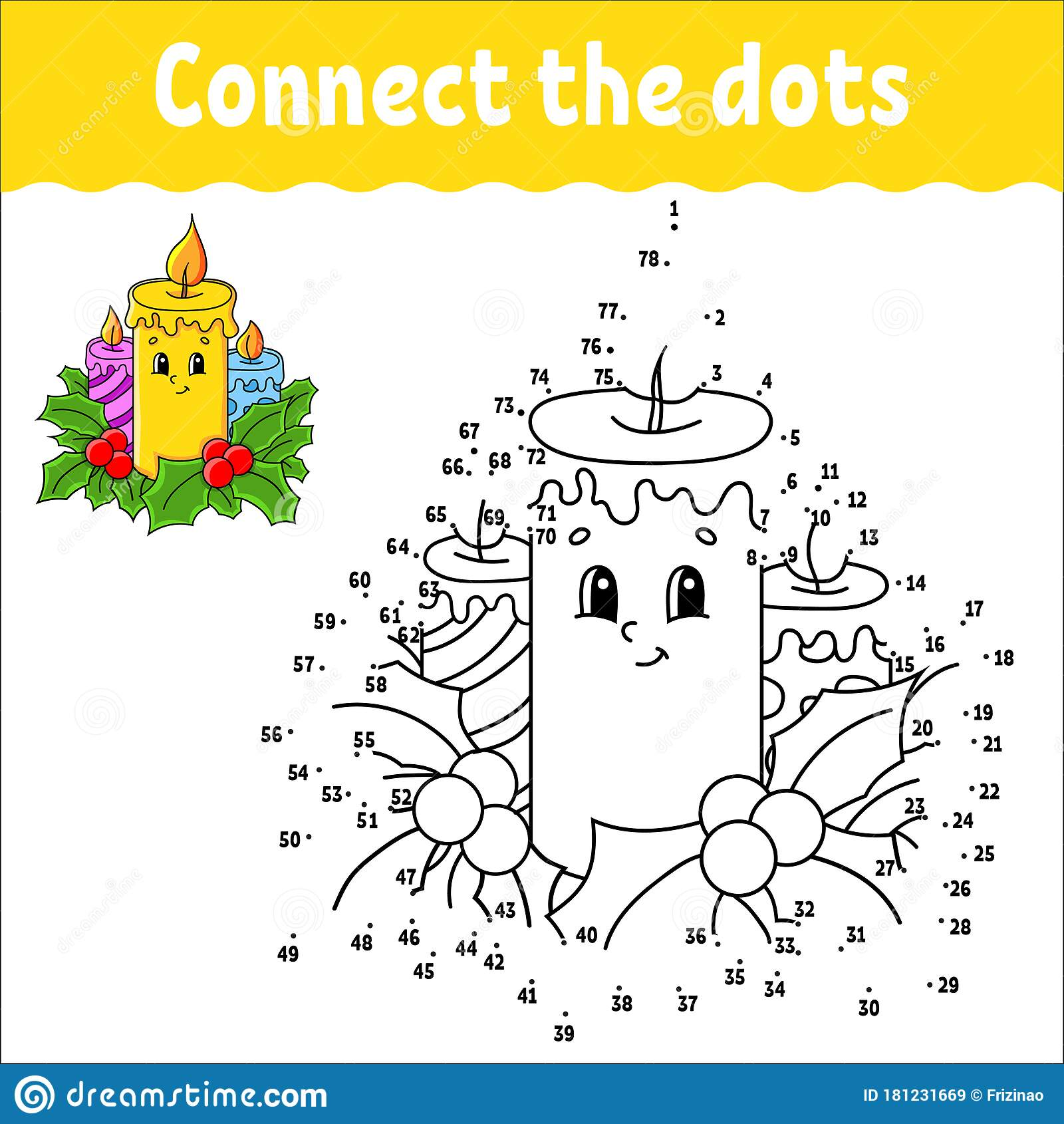 Dot To Dot Game Draw A Line Christmas Burning Candles