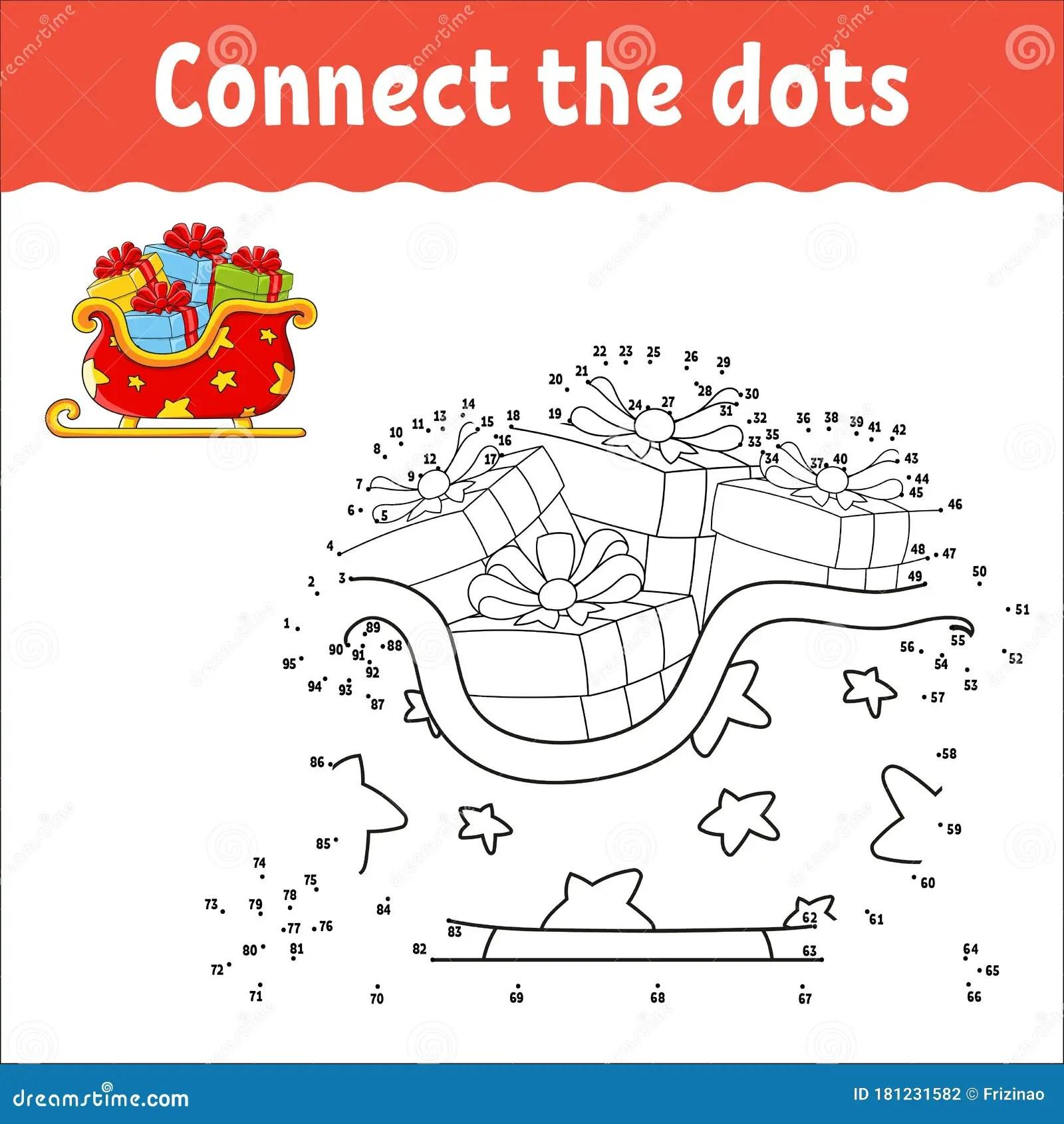 Dot To Dot Game Draw A Line Christmas Sleigh Santa Claus