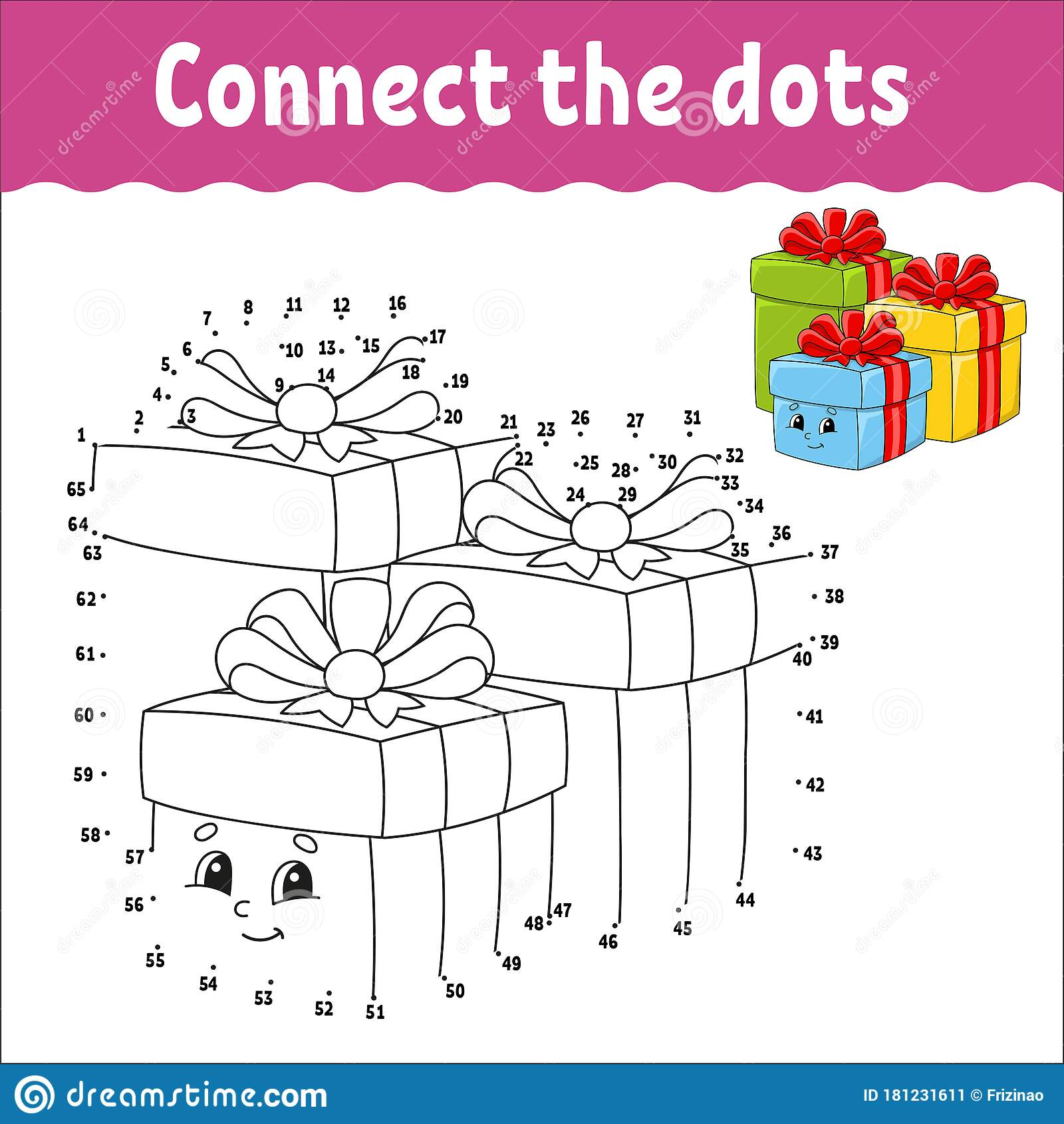 Dot To Dot Game Draw A Line Holiday Boxes With Ts