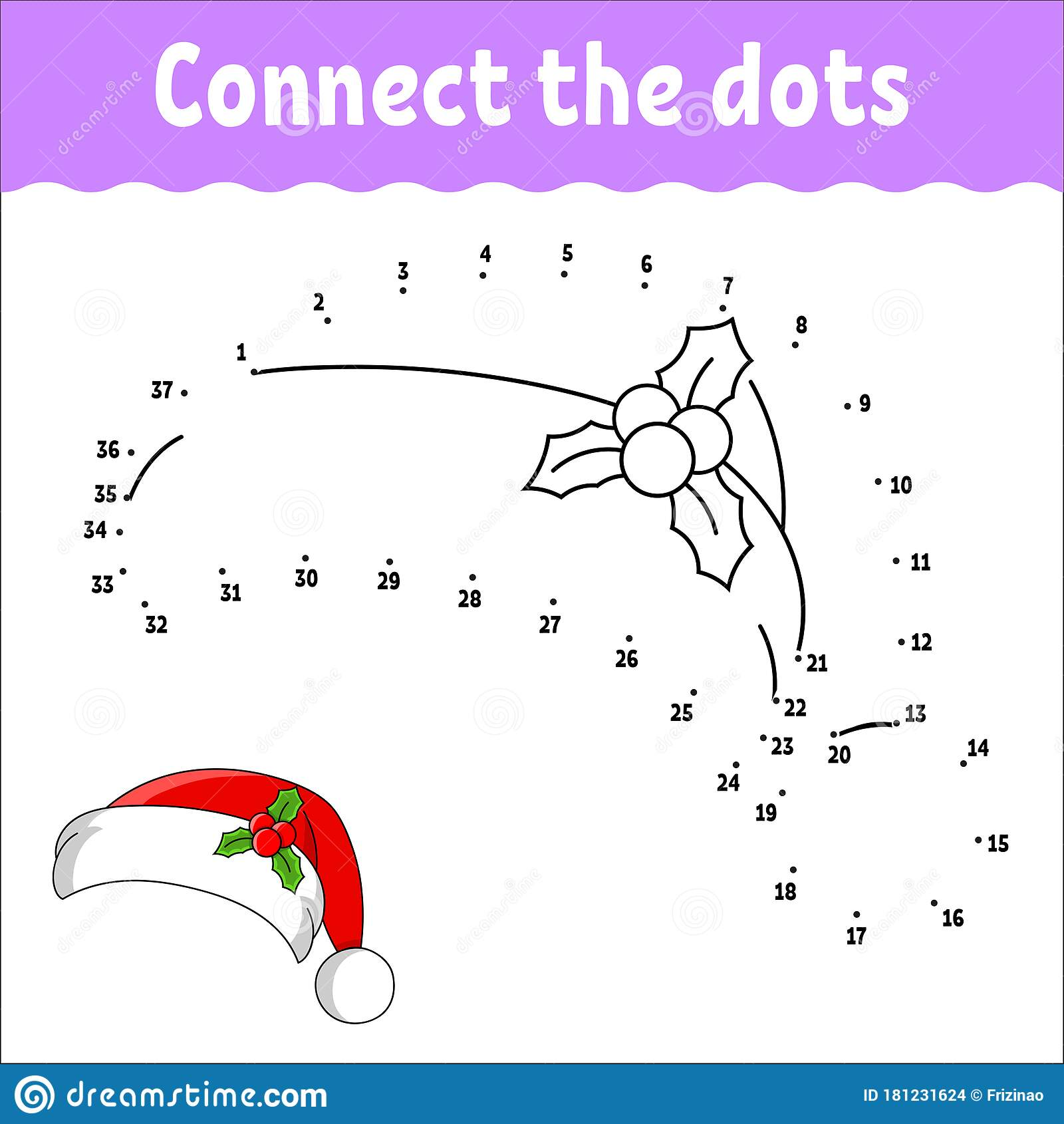 Dot To Dot Game Draw A Line Santa Claus Fur Hat With