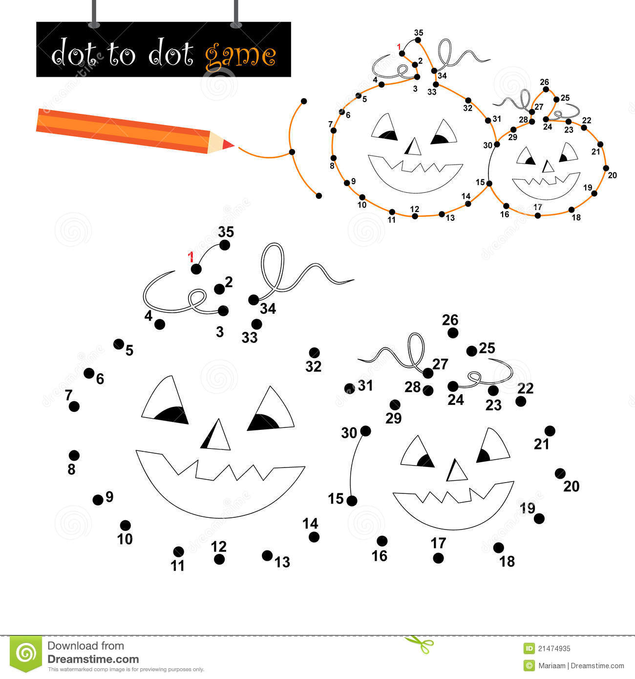 Dot To Dot Game Halloween Pumpkins Stock Vector