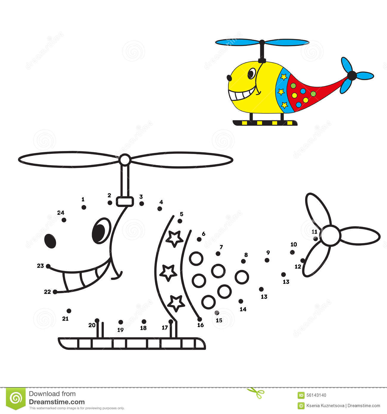 Dot To Dot Game Helicopter Coloring Book For Stock Vector
