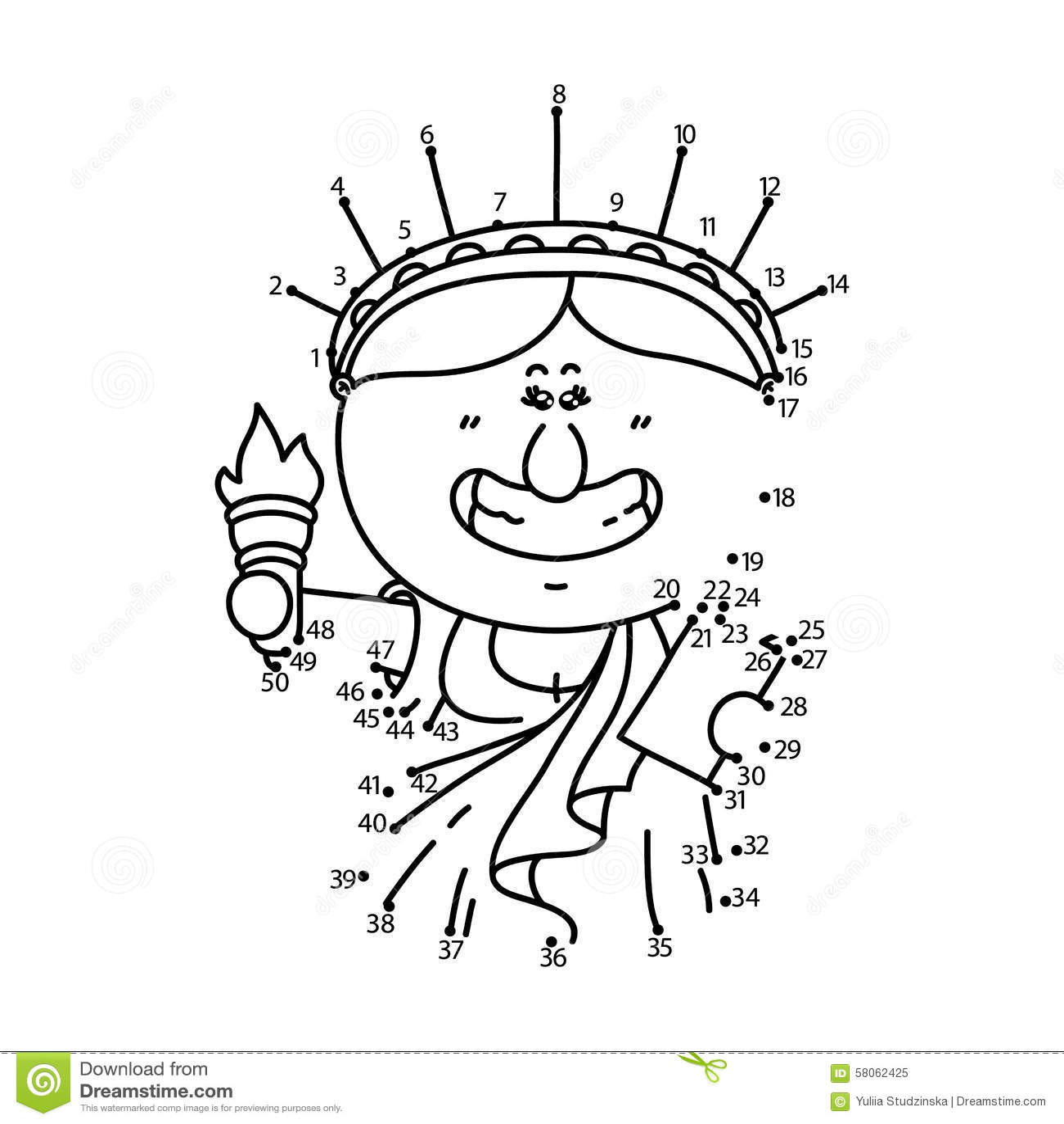 Dot To Dot Liberty Game Stock Vector Illustration Of