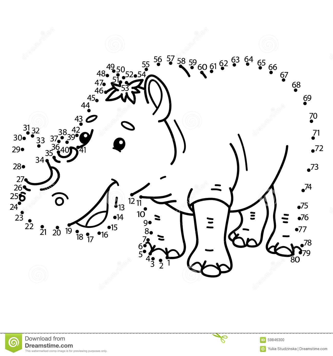 Dot To Dot Rhinoceros Game Stock Vector