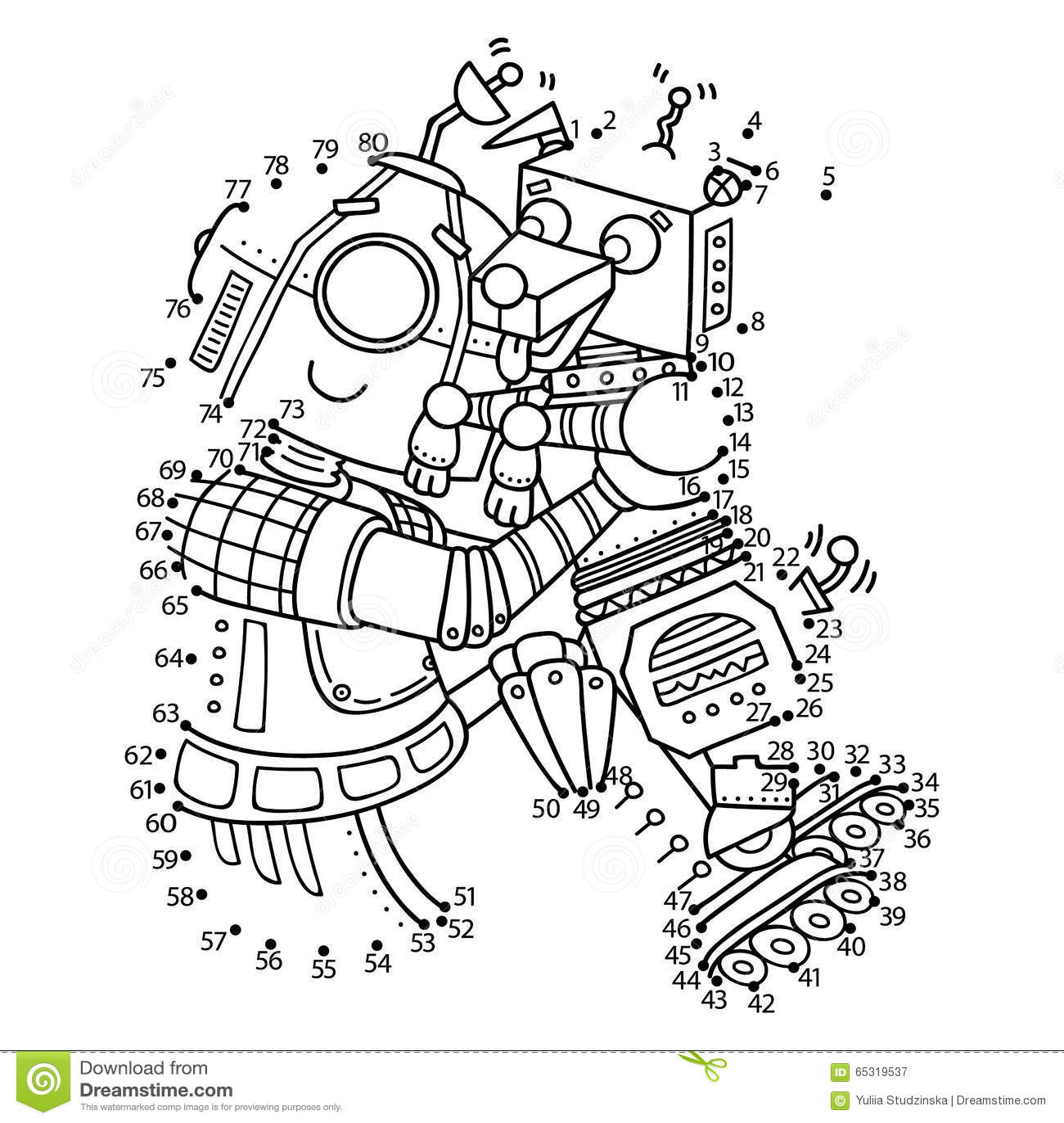 Dot To Dot Robot Game Stock Vector Illustration Of