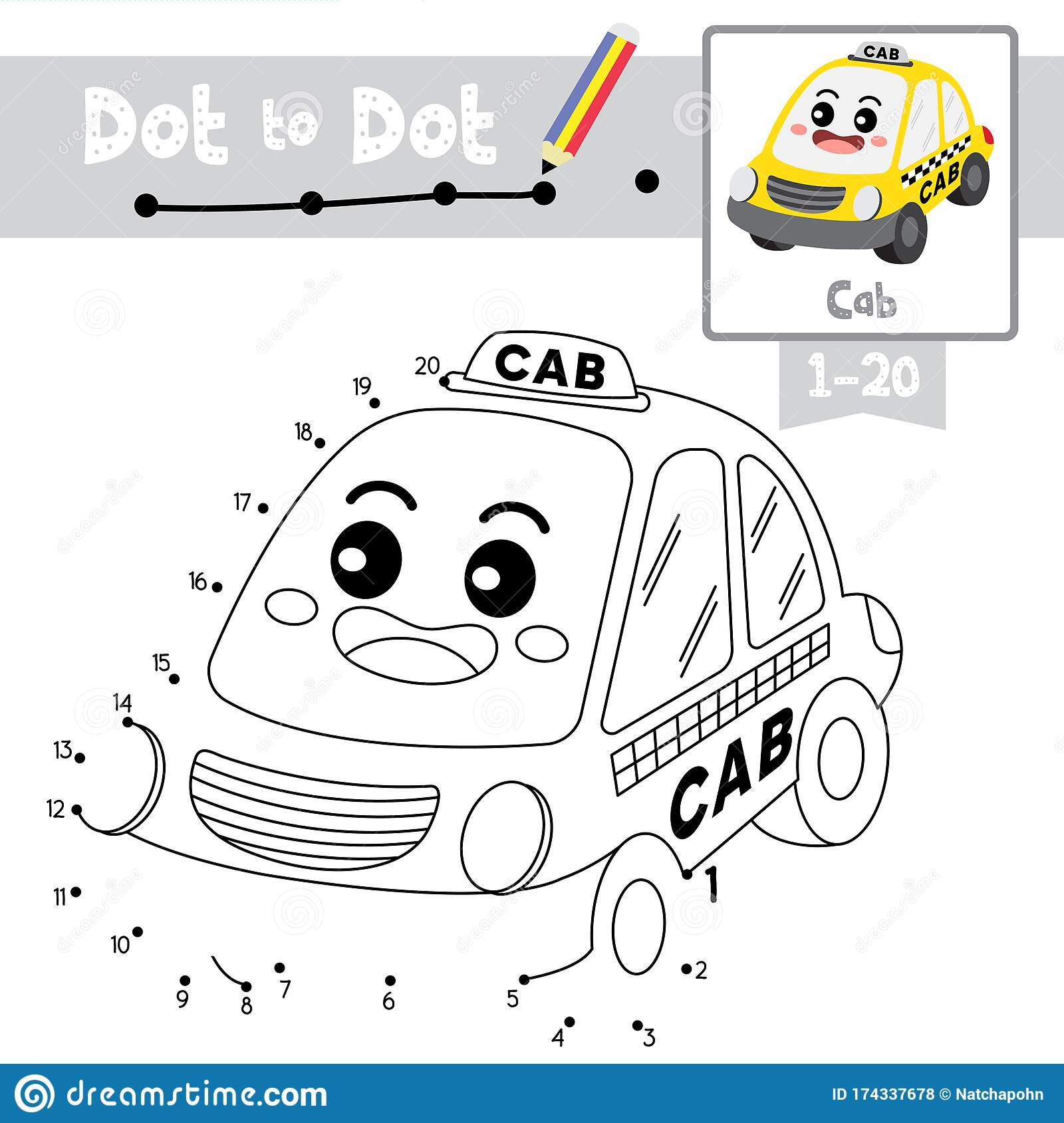 Dot To Dot Educational Game And Coloring Book Cab Cartoon
