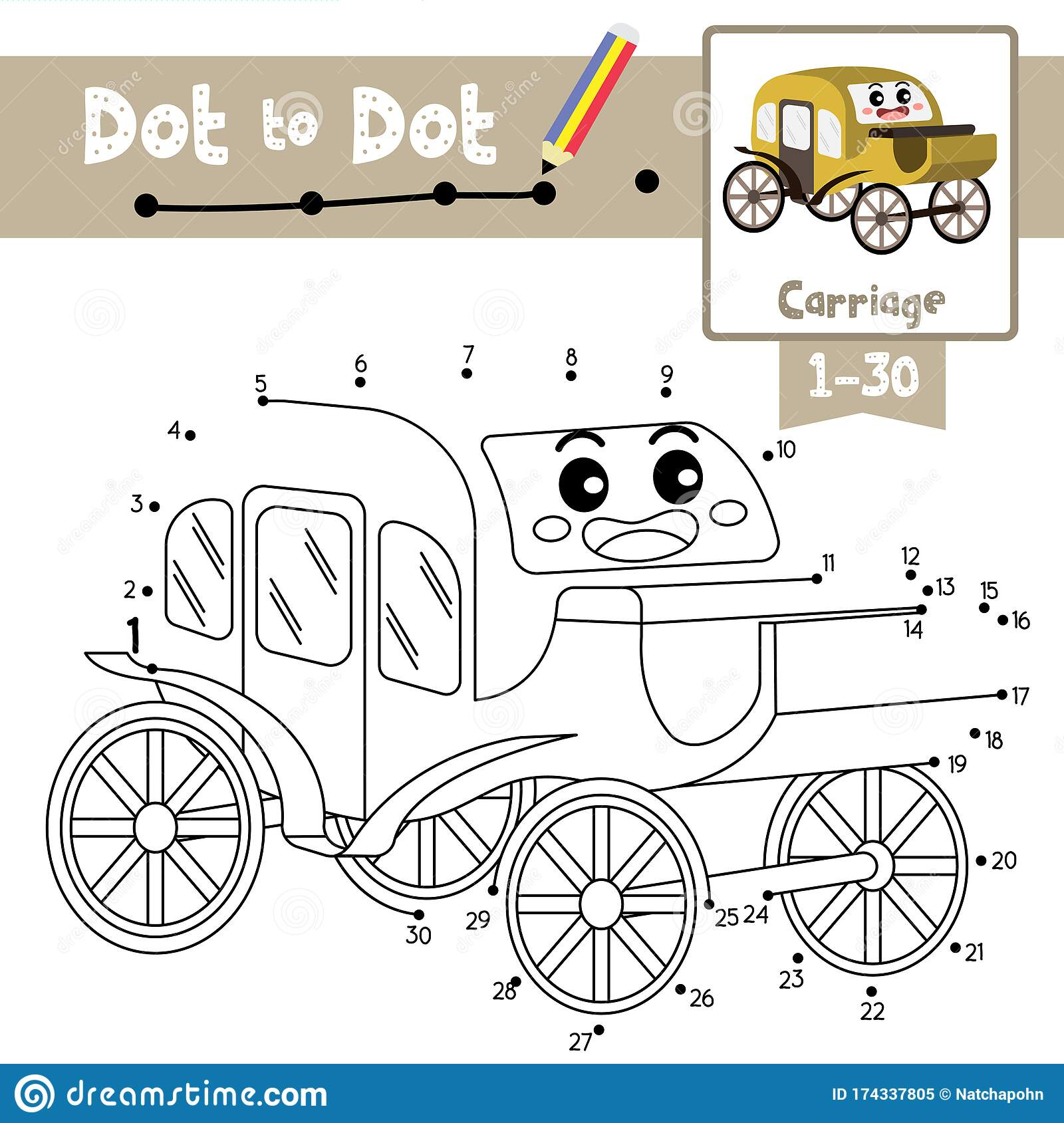 Dot To Dot Educational Game And Coloring Book Carriage