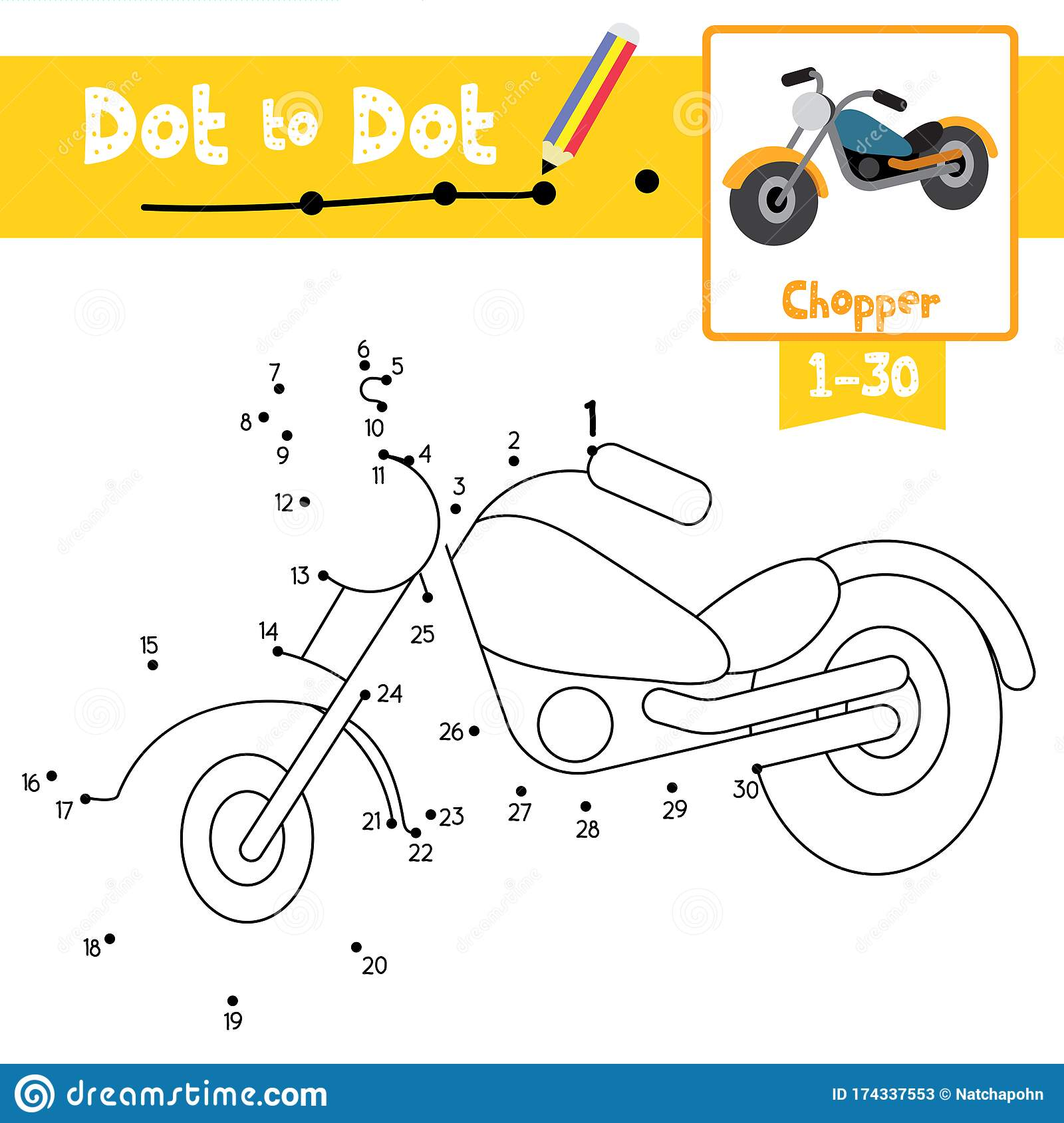 Dot To Dot Educational Game And Coloring Book Chopper