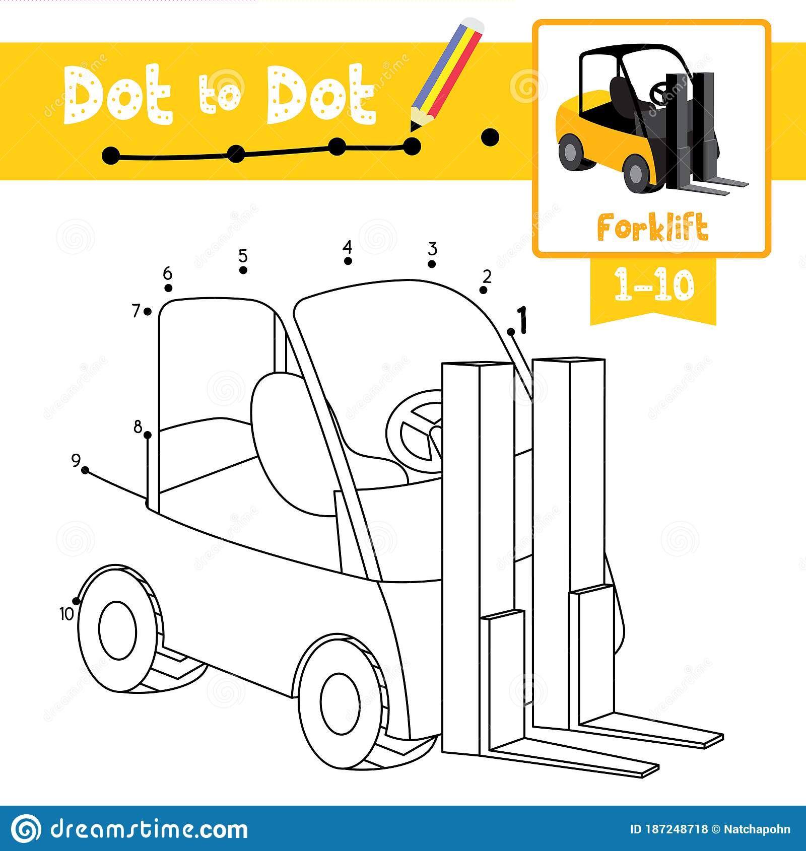 Dot To Dot Educational Game And Coloring Book Forklift