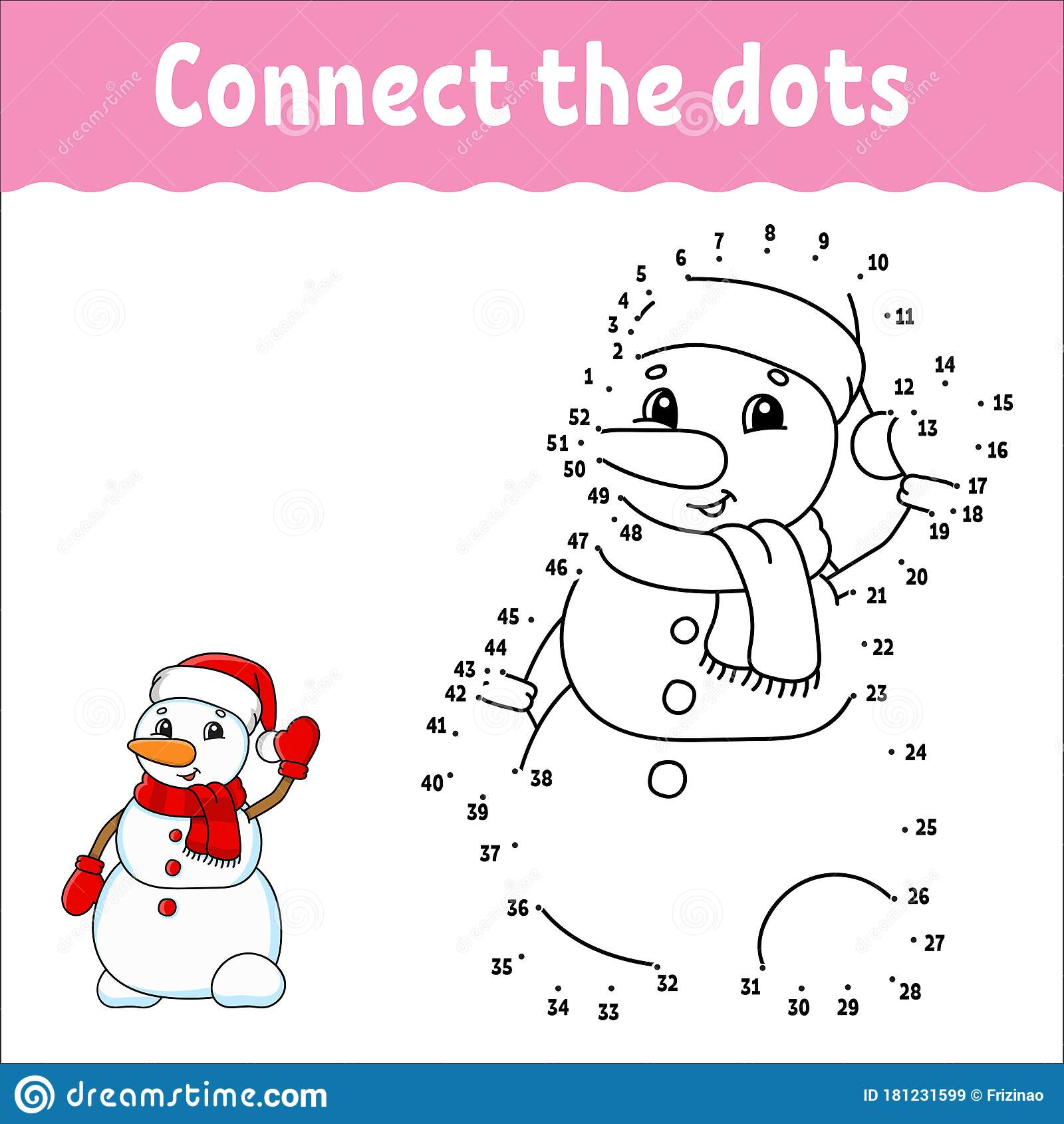 Dot To Dot Game Draw A Line Christmas Snowman For Kids