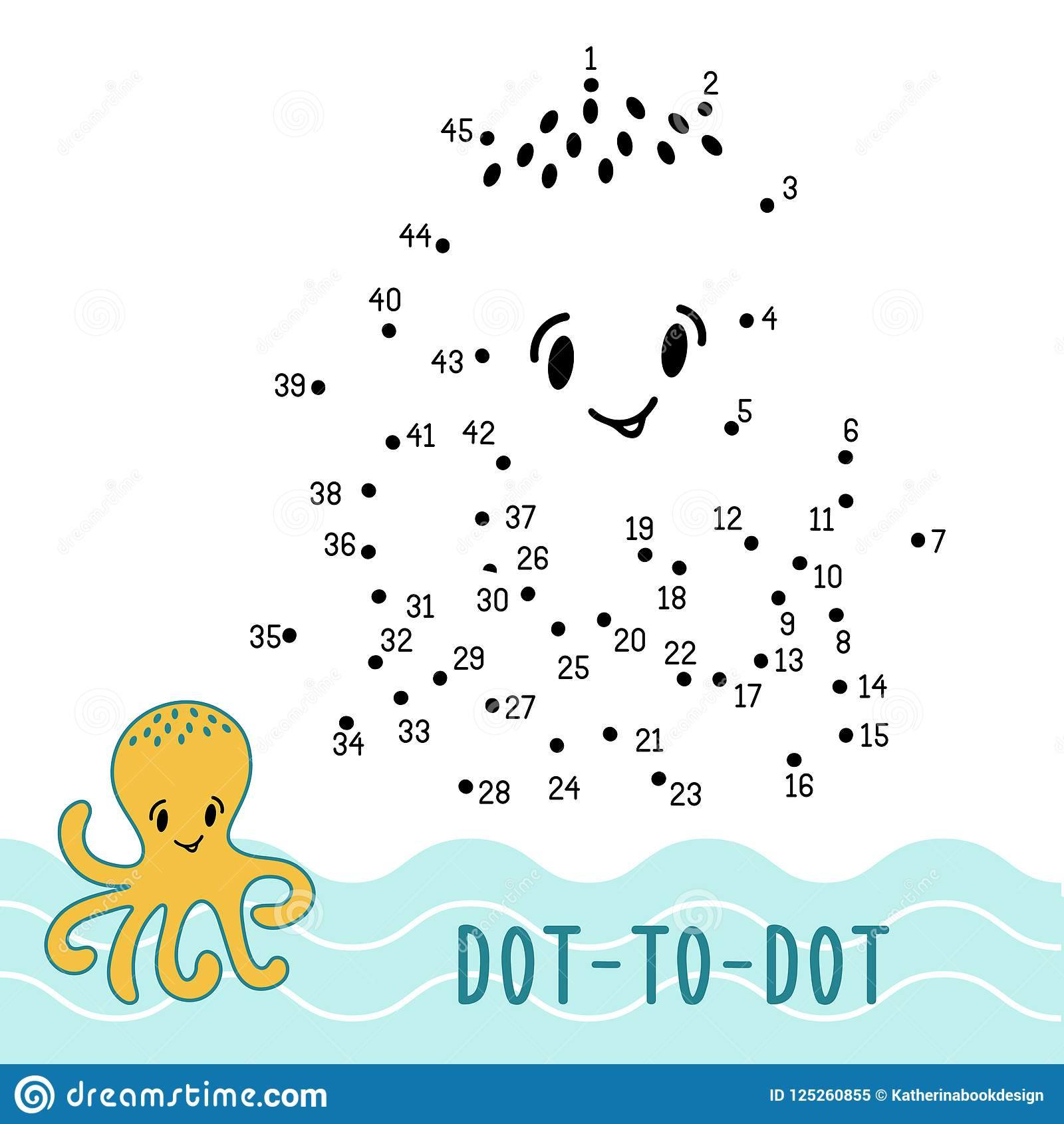 Dot To Dot Game Number Connect Dots Octopus Stock Vector