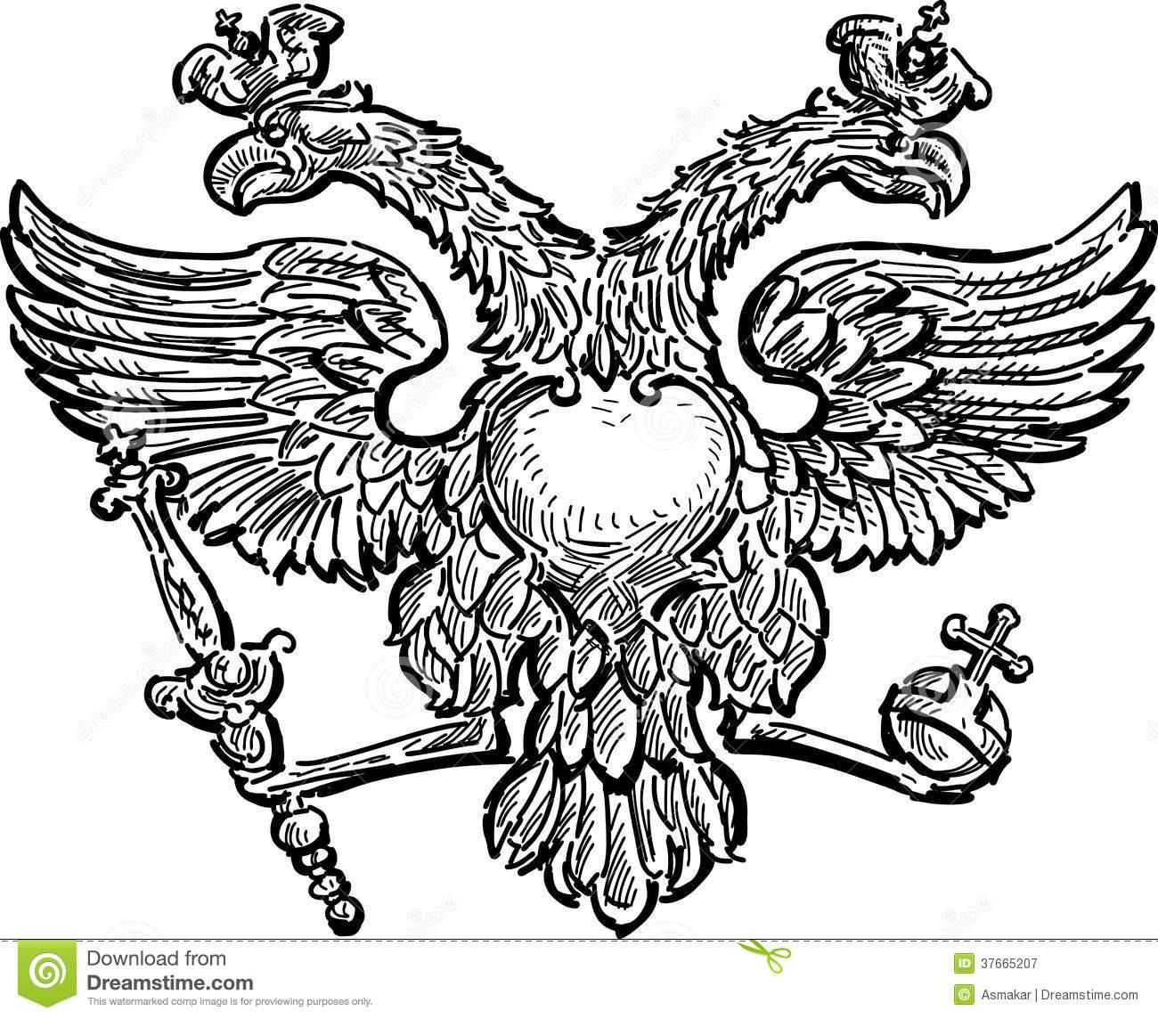 Double Headed Eagle Stock Vector Illustration Of Bird