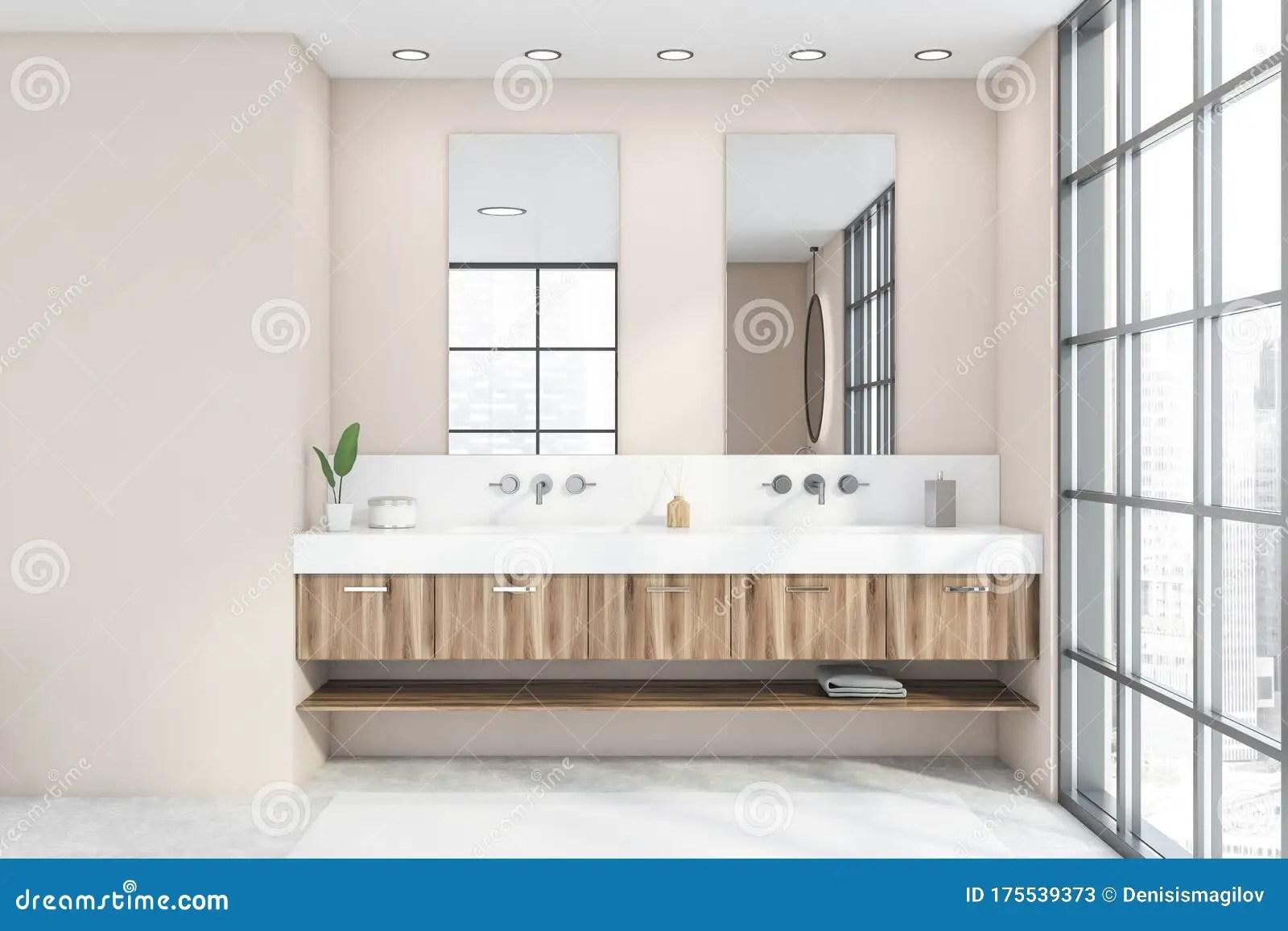 double sink in panoramic beige bathroom stock illustration illustration of apartment elegance 175539373