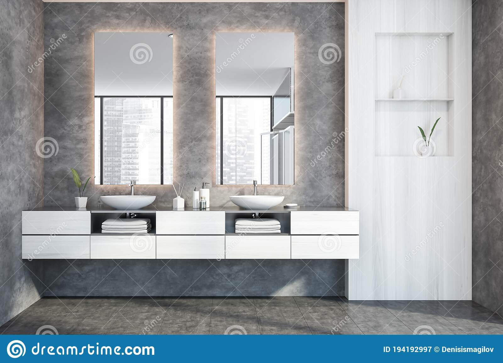 double sink in white and concrete bathroom stock illustration illustration of exclusive luxury 194192997