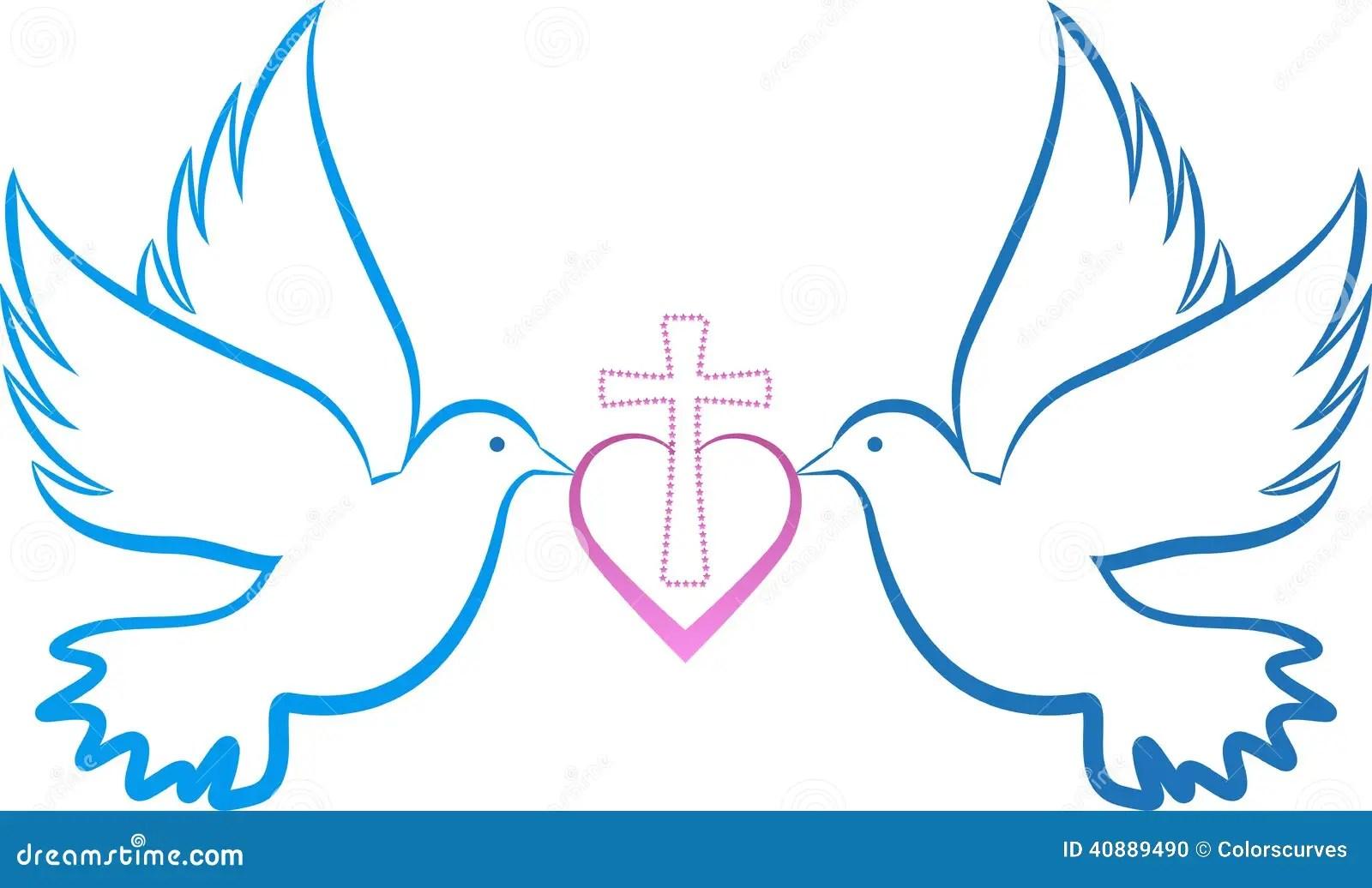 Dove Love Cross Stock Vector. Image Of Ethnic, Feather