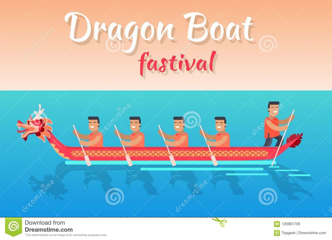 Dragon Boat Festival Promotional Poster With Sea Stock