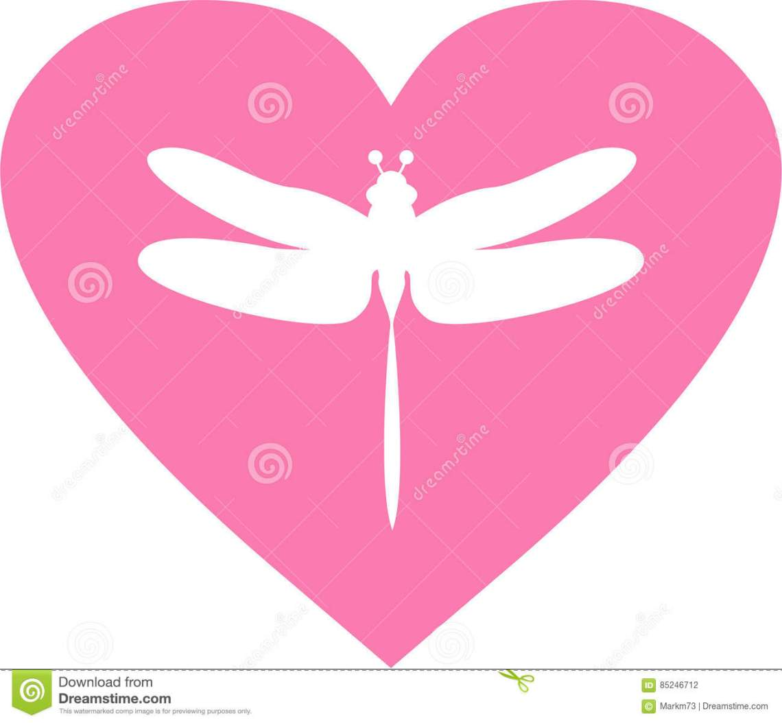 Download Dragonfly Heart Silhouette stock vector. Illustration of ...