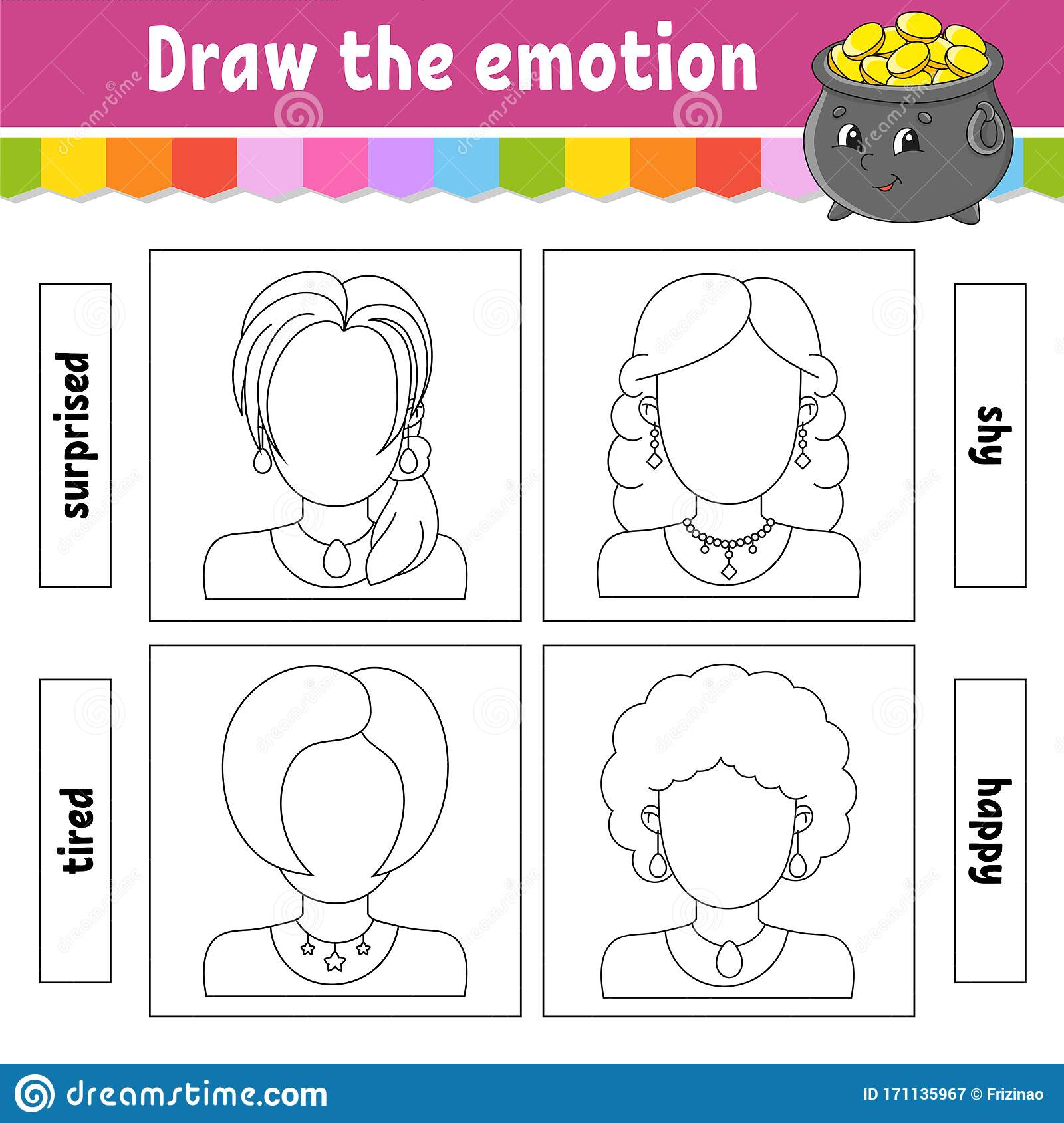 Draw The Emotion Worksheet Complete The Face Coloring