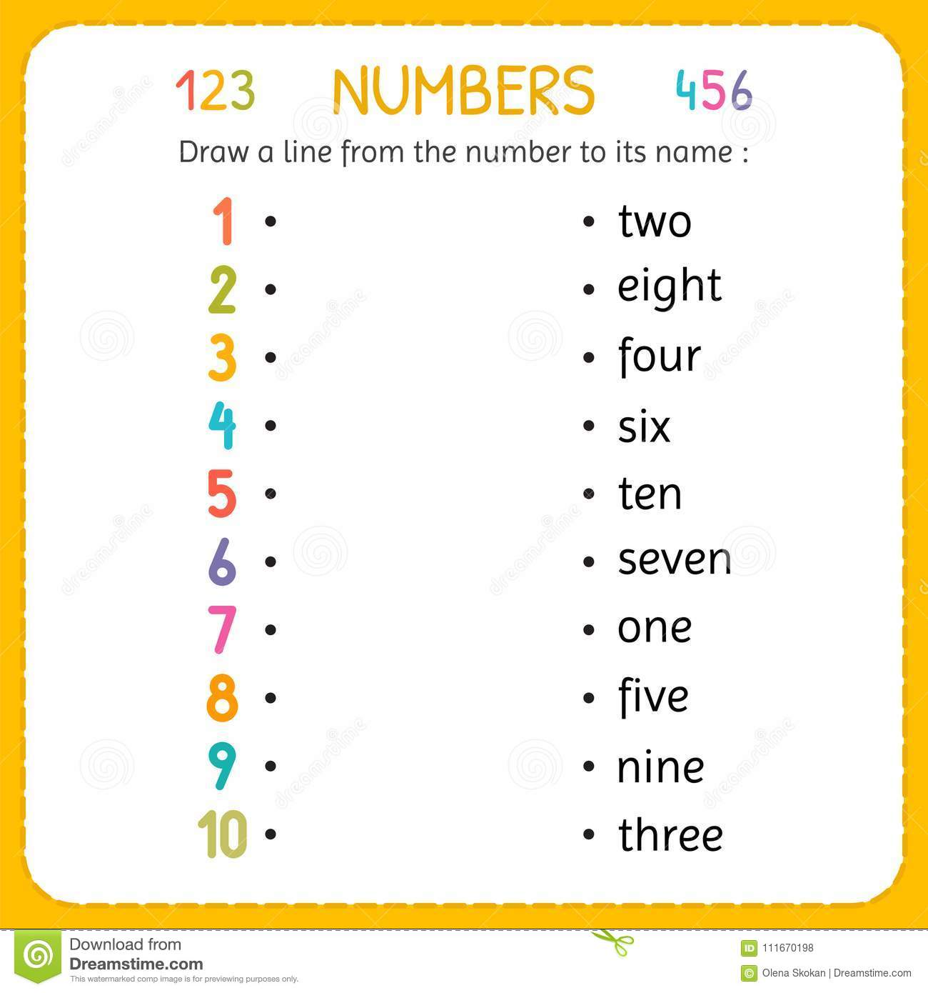Draw A Line From The Number To Its Name Numbers For Kids