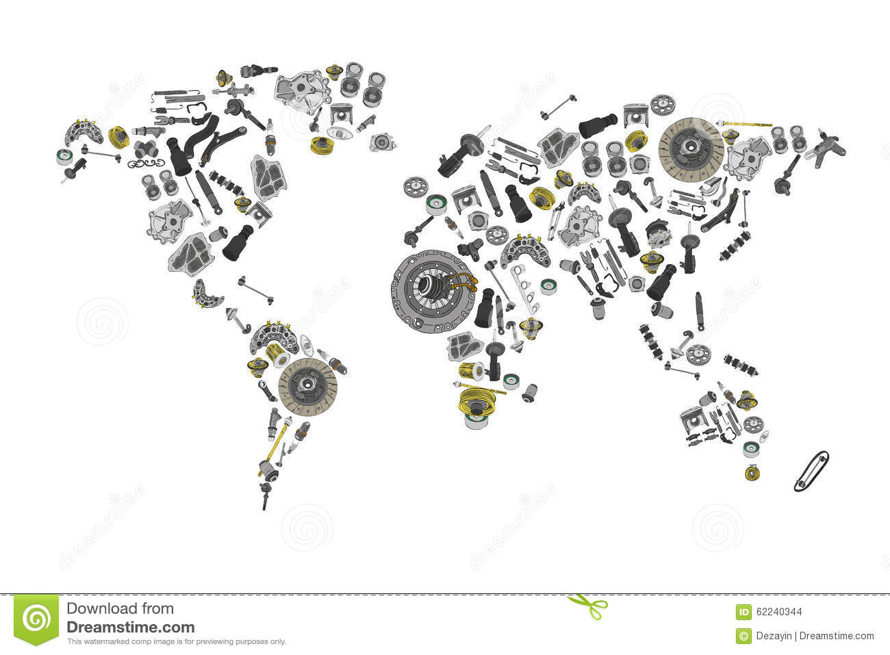 Draw A Map Of The World Made Up Of Spare Parts Stock Vector