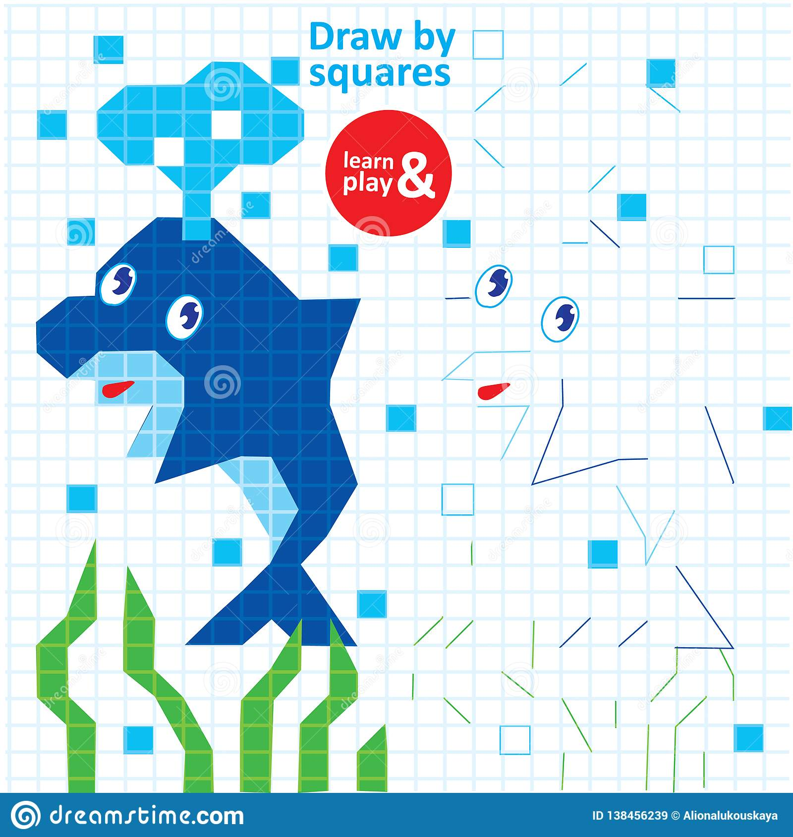 Draw Squares Dolphin Kid Game Printable Worksheet Stock