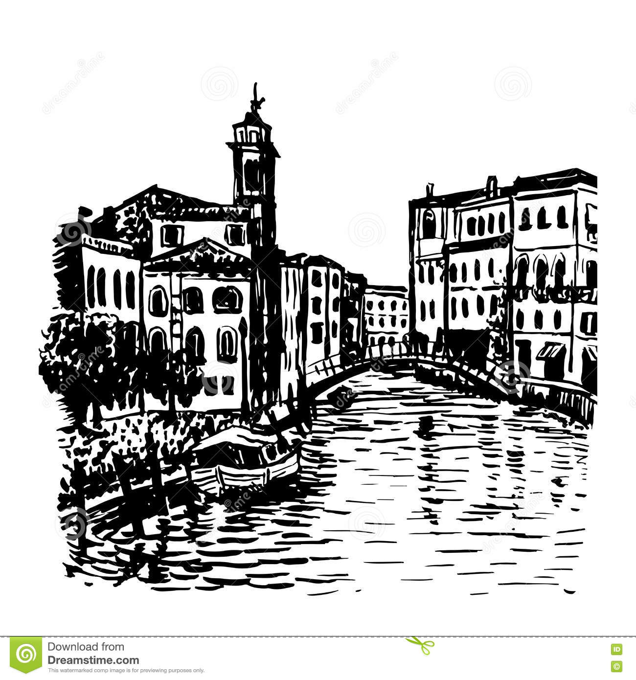Drawing Background Cityscape In Venice Sketch Illust Stock