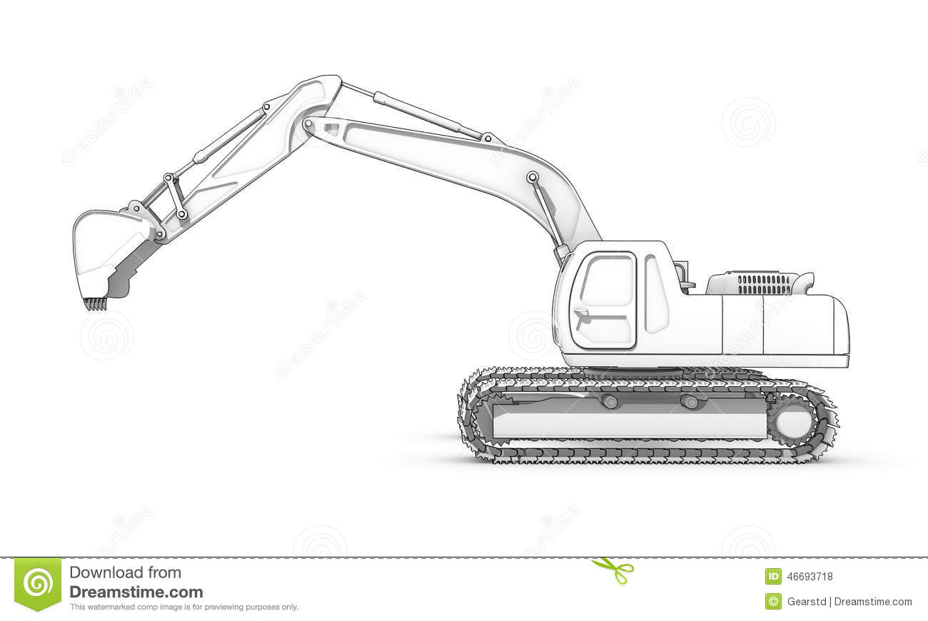 Drawing Black And White Sketch Of Excavator Stock