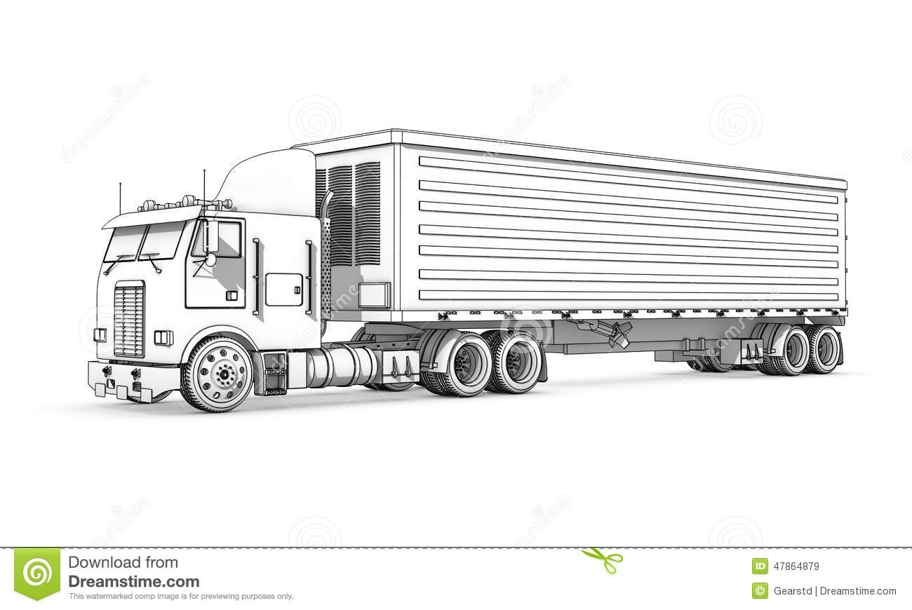 Drawing Black And White Sketch Of Truck Stock