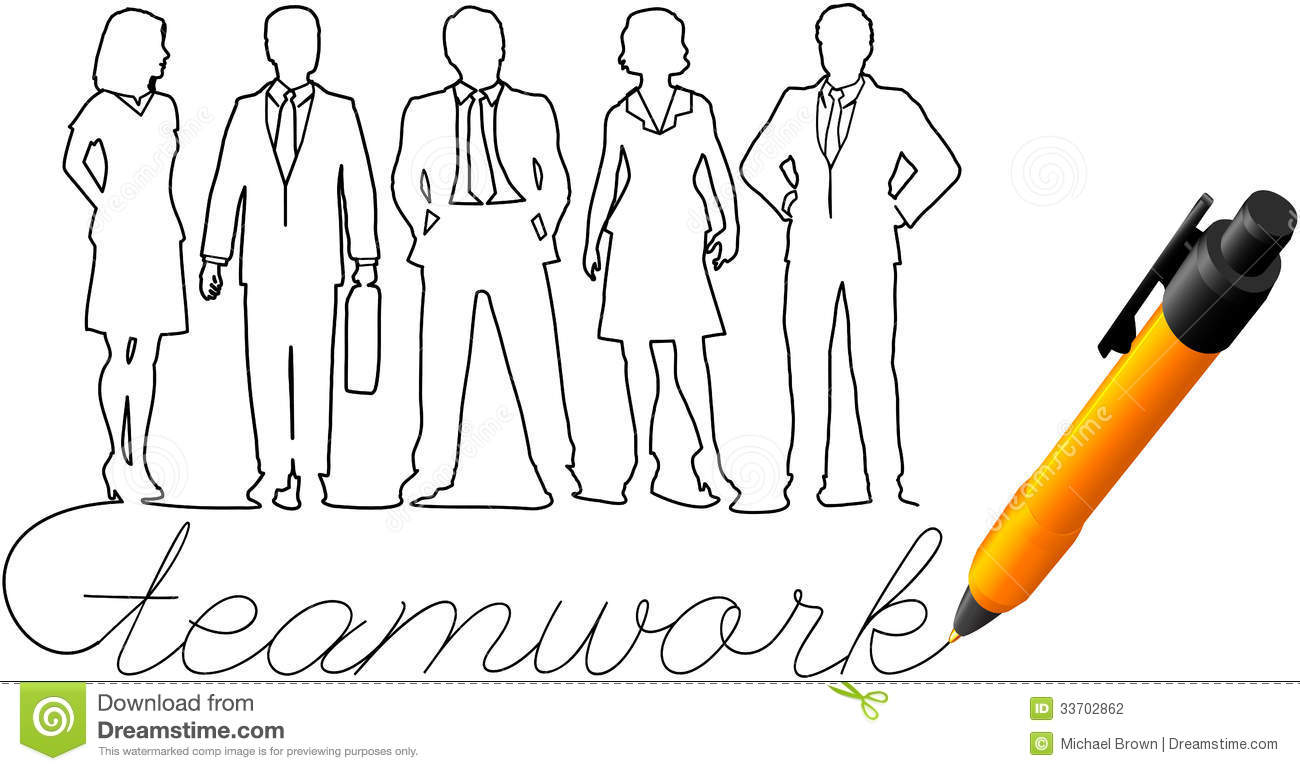 Drawing Business Team Work People Stock Vector