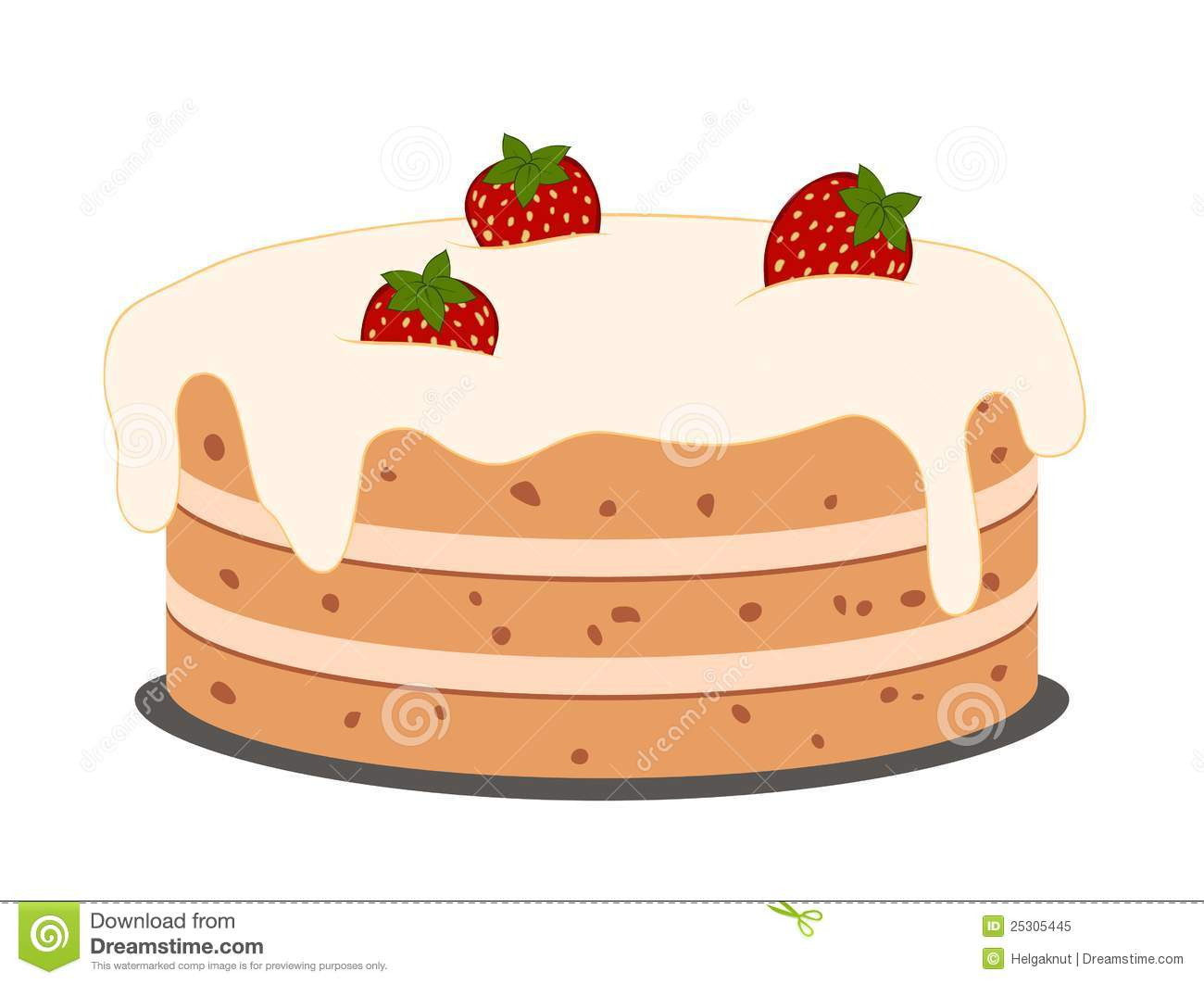 Drawing Cake With Strawberries Stock Vector Illustration
