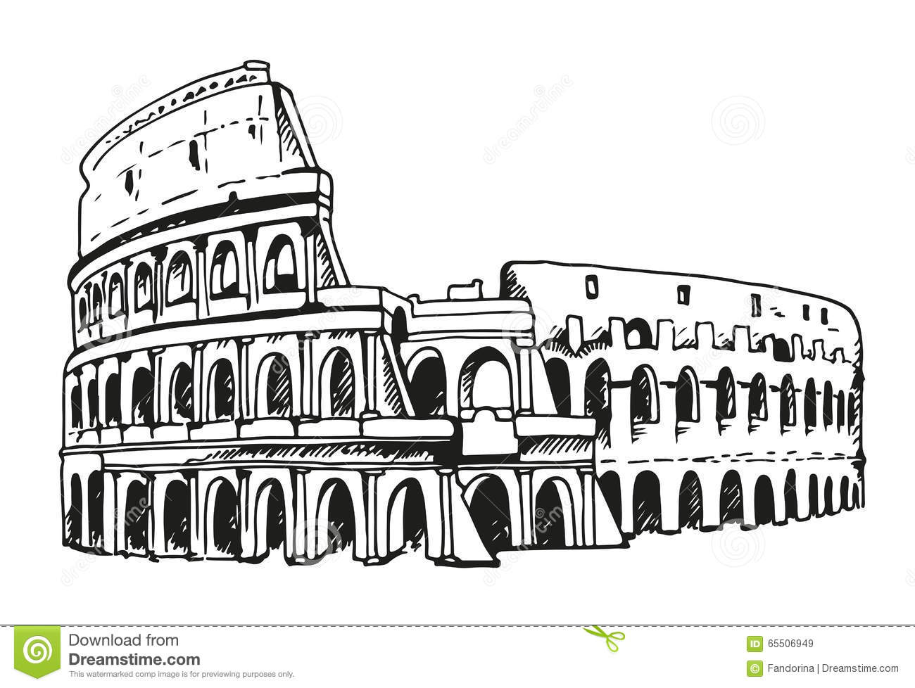 Drawing Of Coliseum Colosseum Illustration In Rome Italy