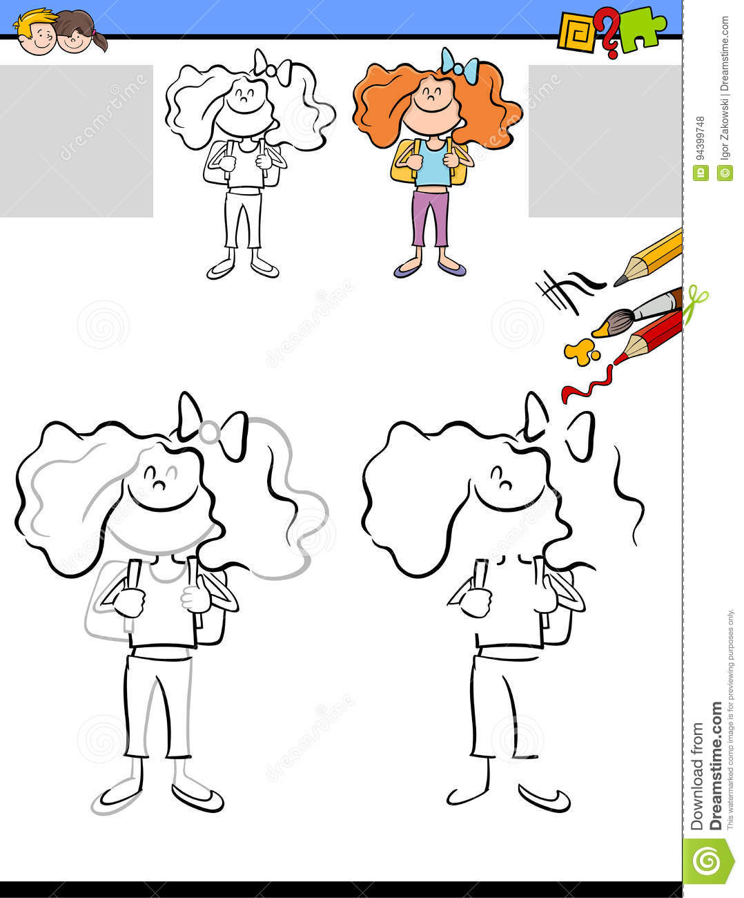 Drawing And Coloring Worksheet Stock Vector